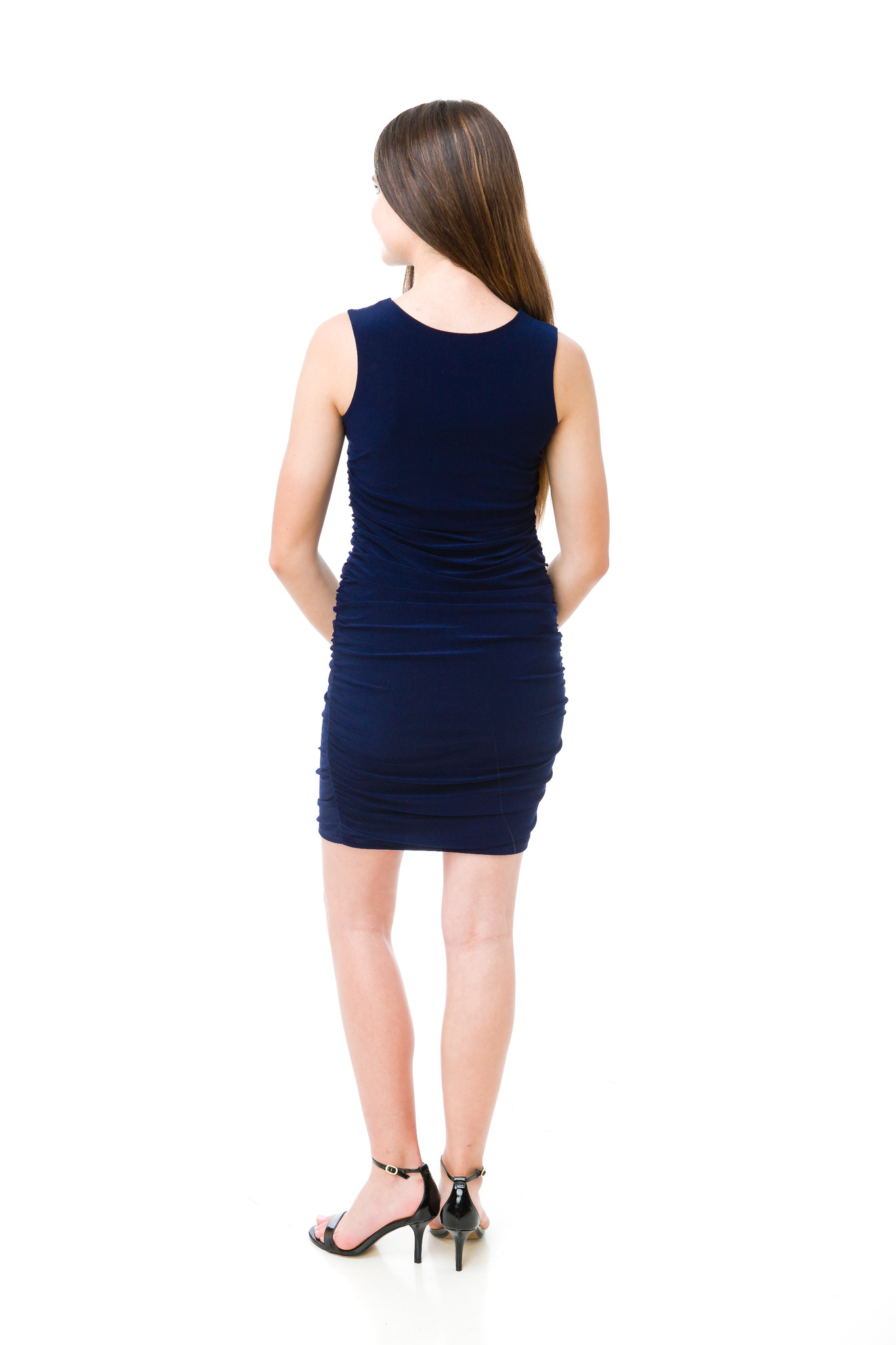 Tween Girls Navy Ruched Fitted Dress in Longer Length back view. Double lined.