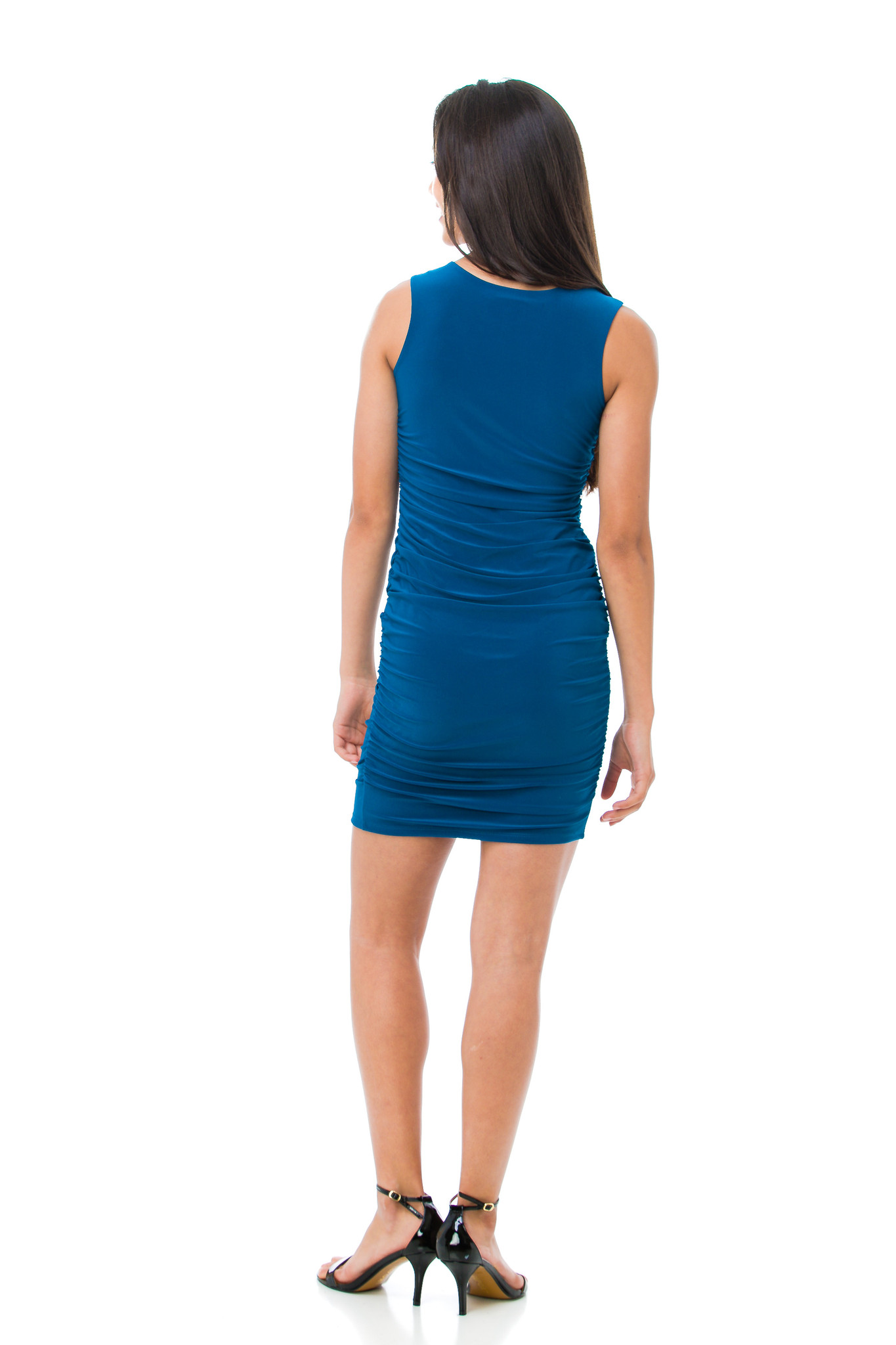 Back view of the Tween Girls Teal Ruched Fitted Dress in Longer Length.