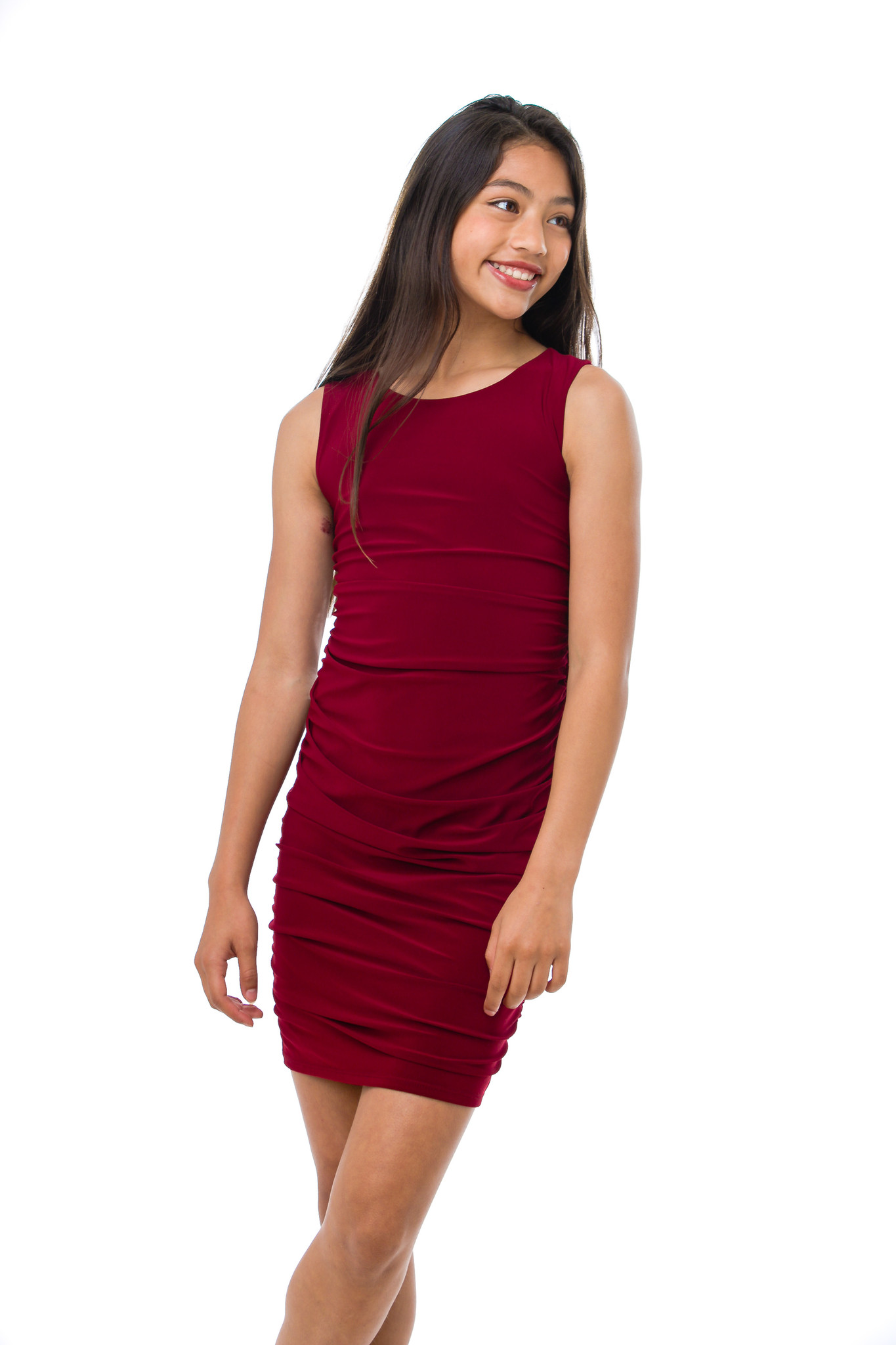 Close up view of the Tween Girls Burgundy Ruched Fitted Dress in Longer Length.