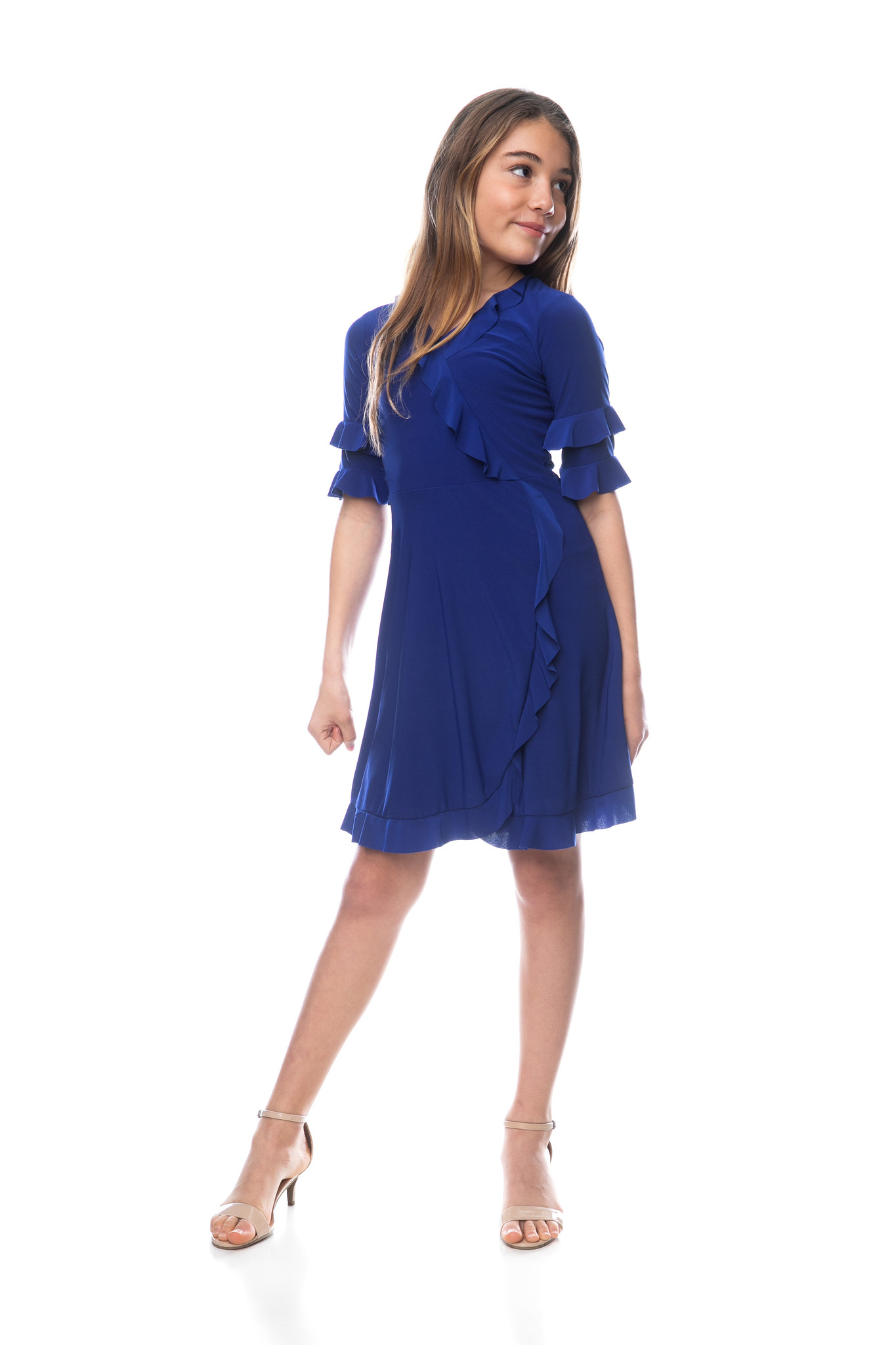 Tween Girls Cobalt Blue Wrap Dress in Longer Length with faux wrap style and ruffle detailing.
