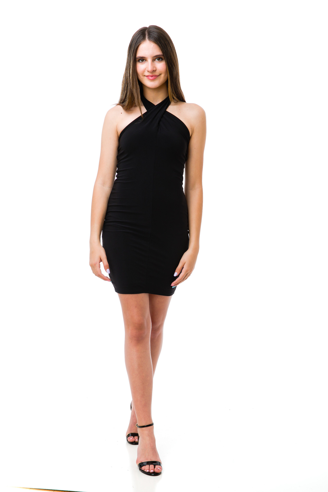 Tween Girls Black Halter Dress in Longer Length full length view with Report shoe.