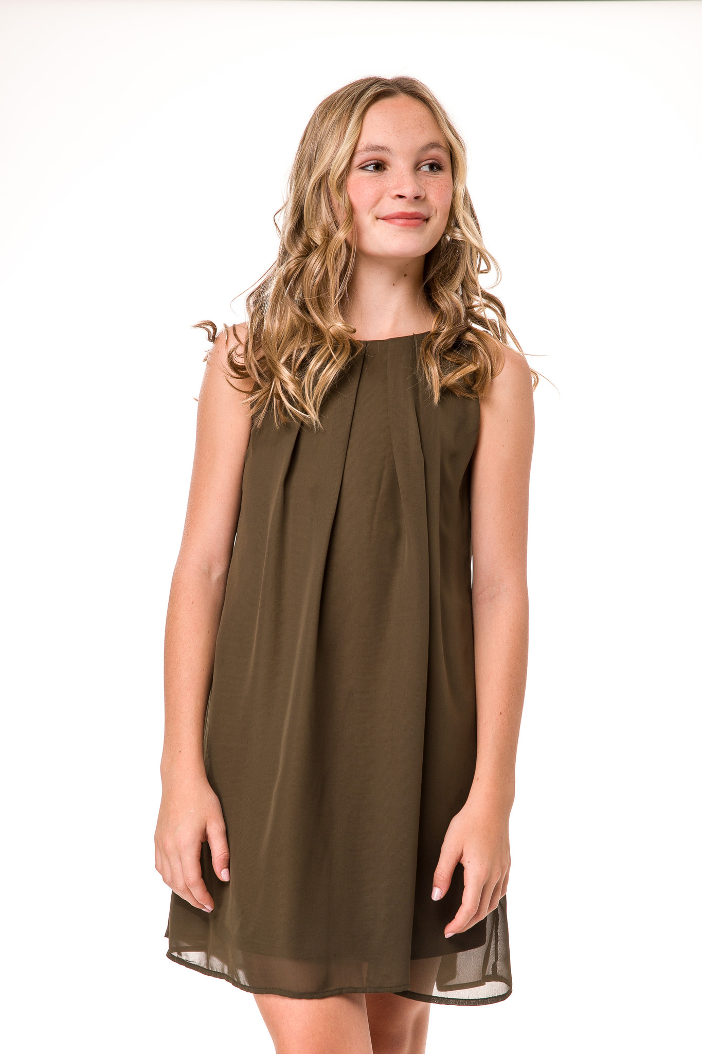Tween Girls Chiffon A Line Dress in Olive Green close up view.