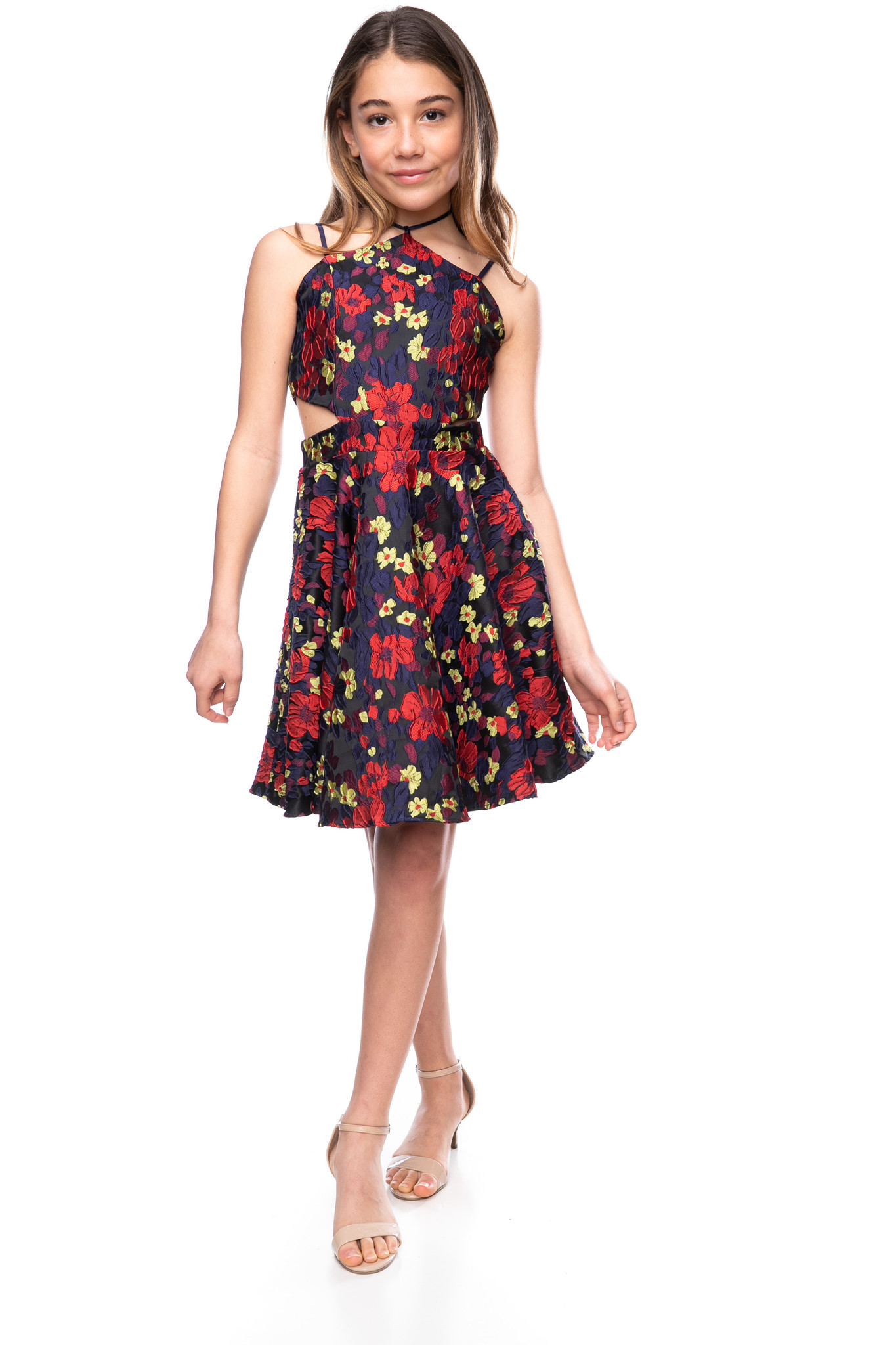 Tween Girls Floral Halter Dress with Open Sides in Longer Length full length view.