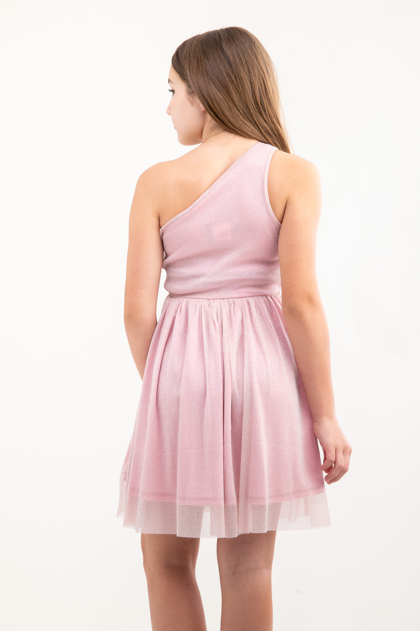 Back view of Tween Girls Pink Glitter One-Shoulder Skater Dress in Longer Length.