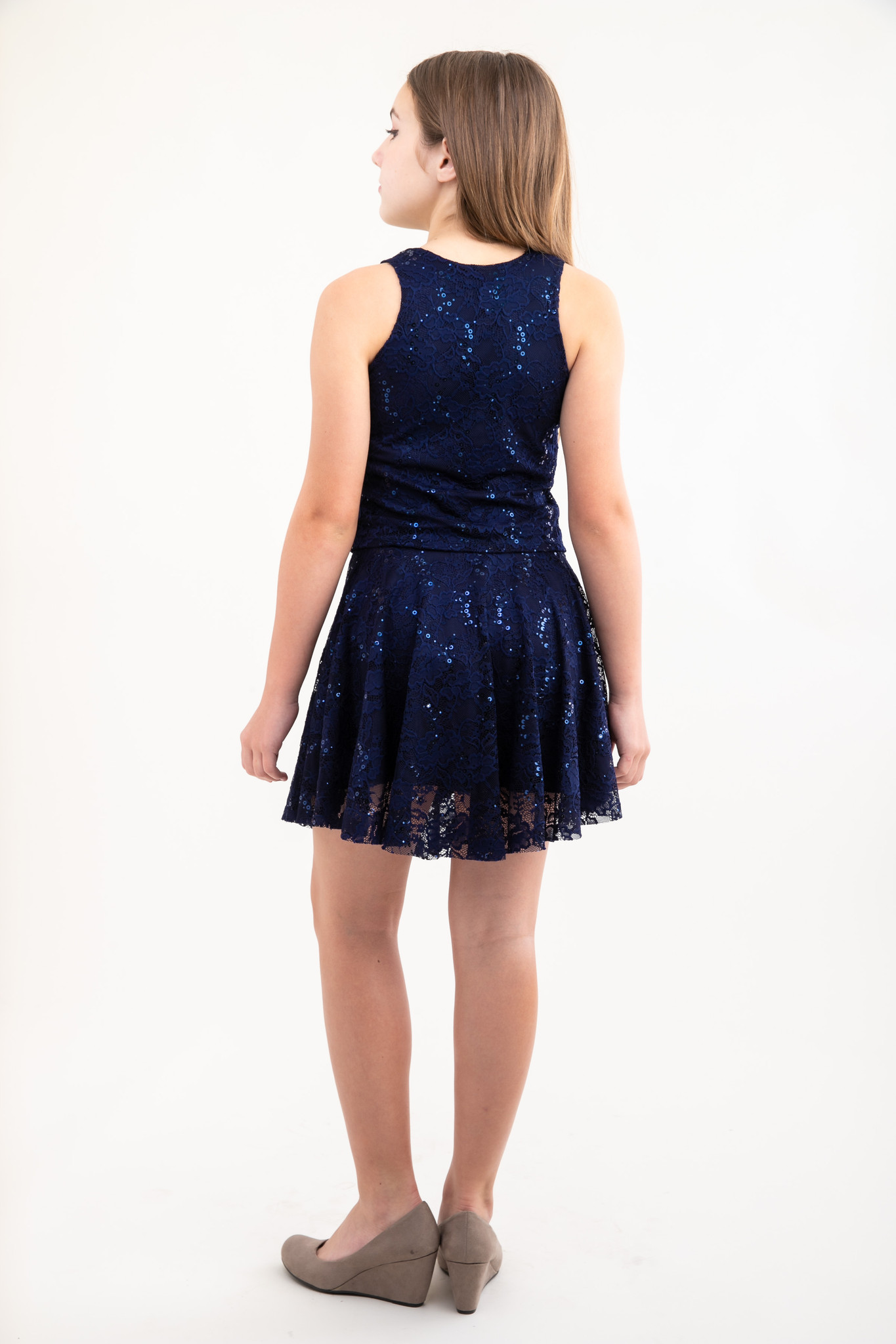 Back view of Tween Girls Navy Sequin Lace Skater Skirt.