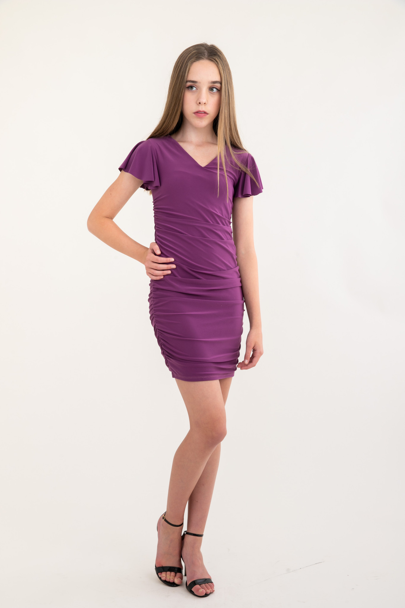 Tween Girls Plum Pale Ruched Flutter Sleeve Dress in Longer Length full view.