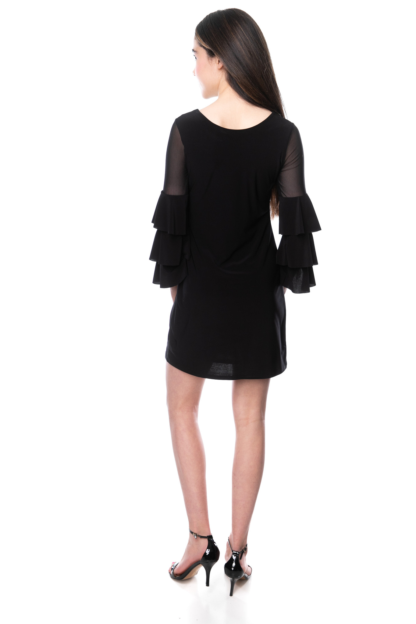 Back view of Tween Girls Black Fitted Bell Sleeve Dress in Longer Length.
