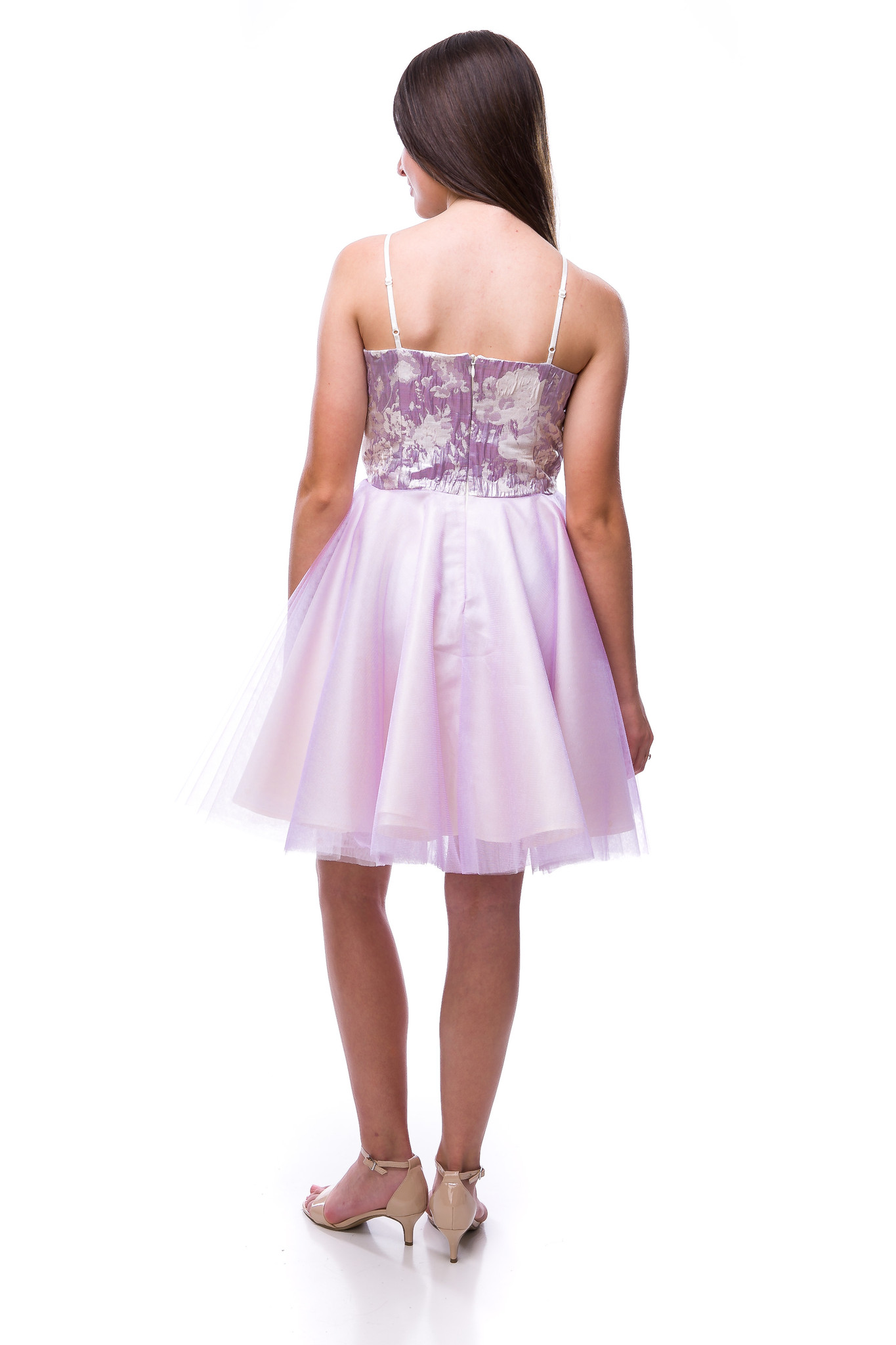 Tween Girls Lilac Tulle Party Dress in Longer Length back view.