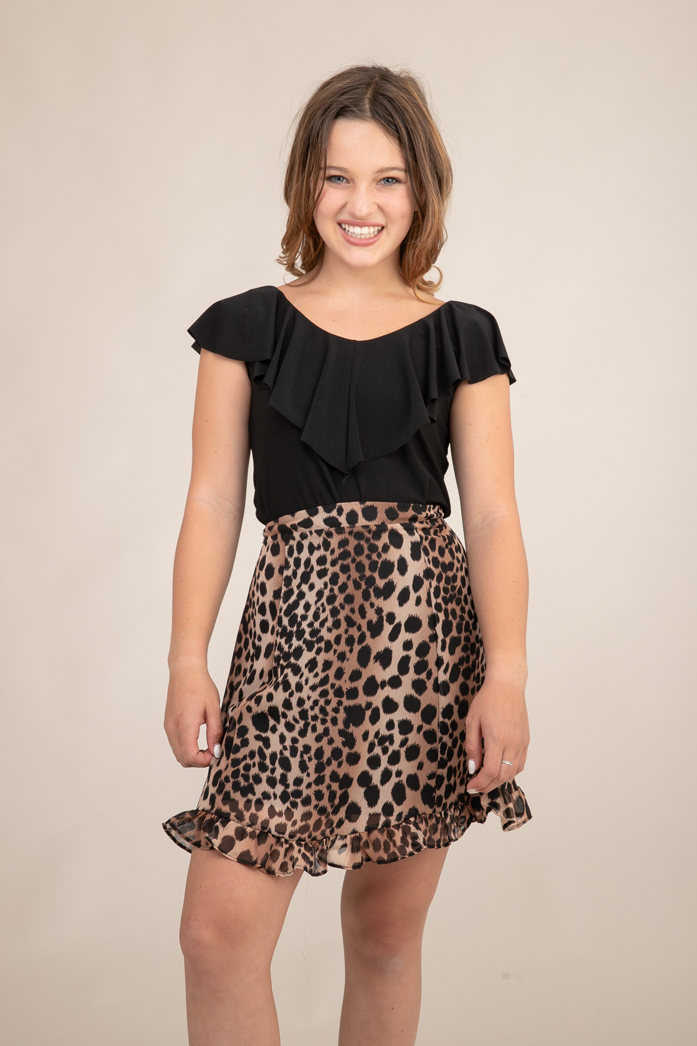 Tween Girls Cheetah Skirt in Longer Length full length view.