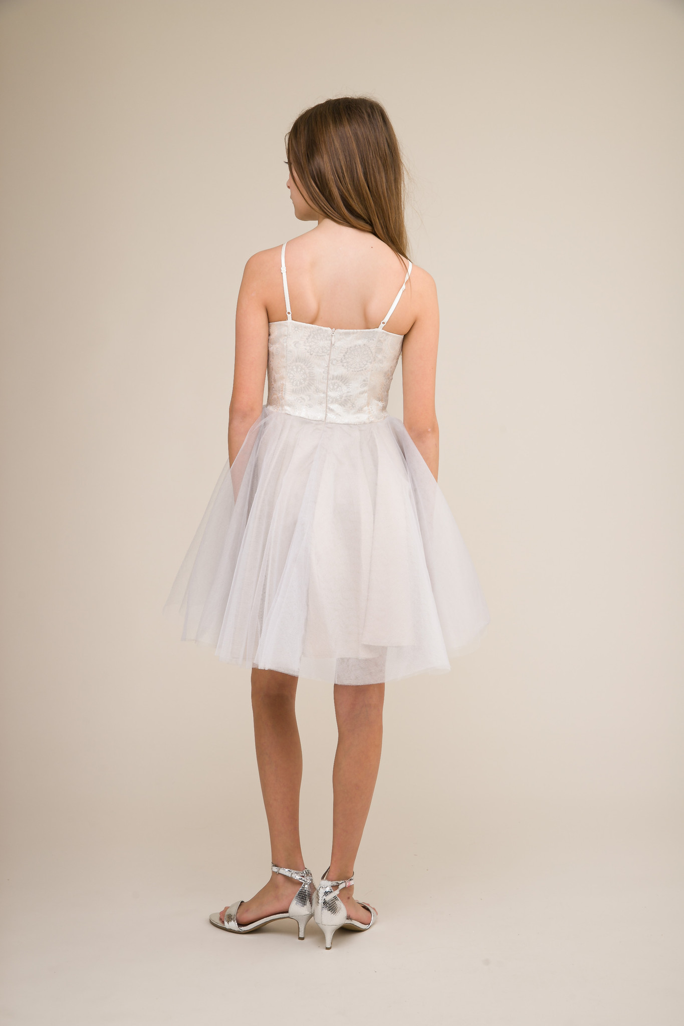Ivory and Silver Tulle Party Dress in Longer Length back view.