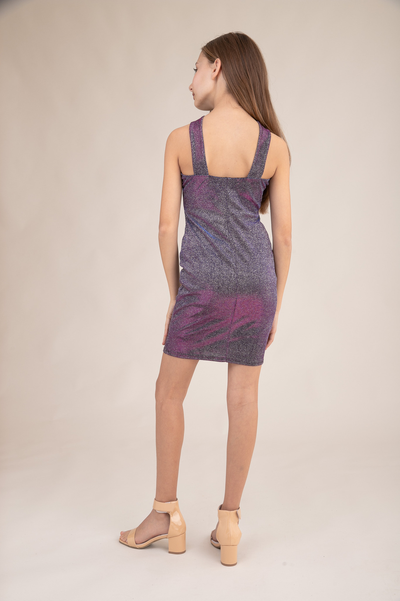 Tween Girls X-Front Fitted Purple Glitter Dress in Longer Length back.