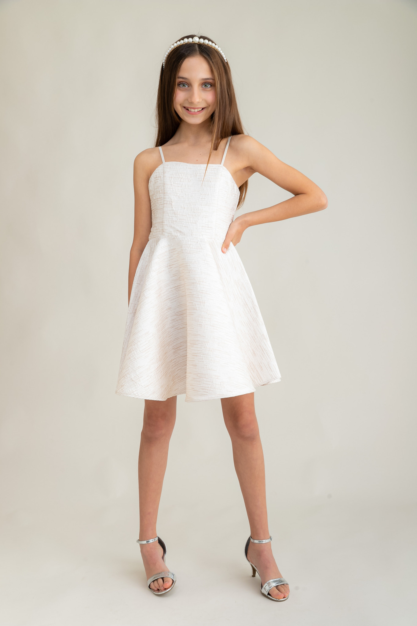 Tween Girls Ivory Jacquard Party Dress in Longer Length full image.