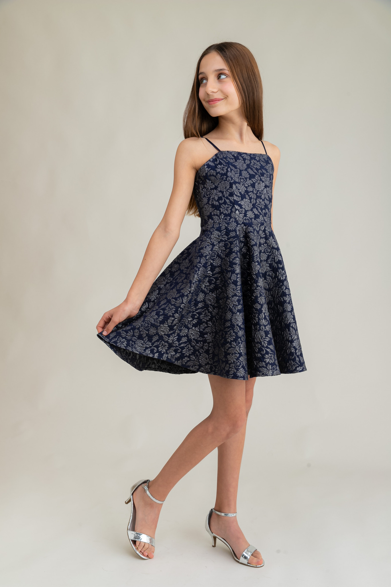 Tween Girls Navy and Silver Jacquard Party Dress in Longer Length.