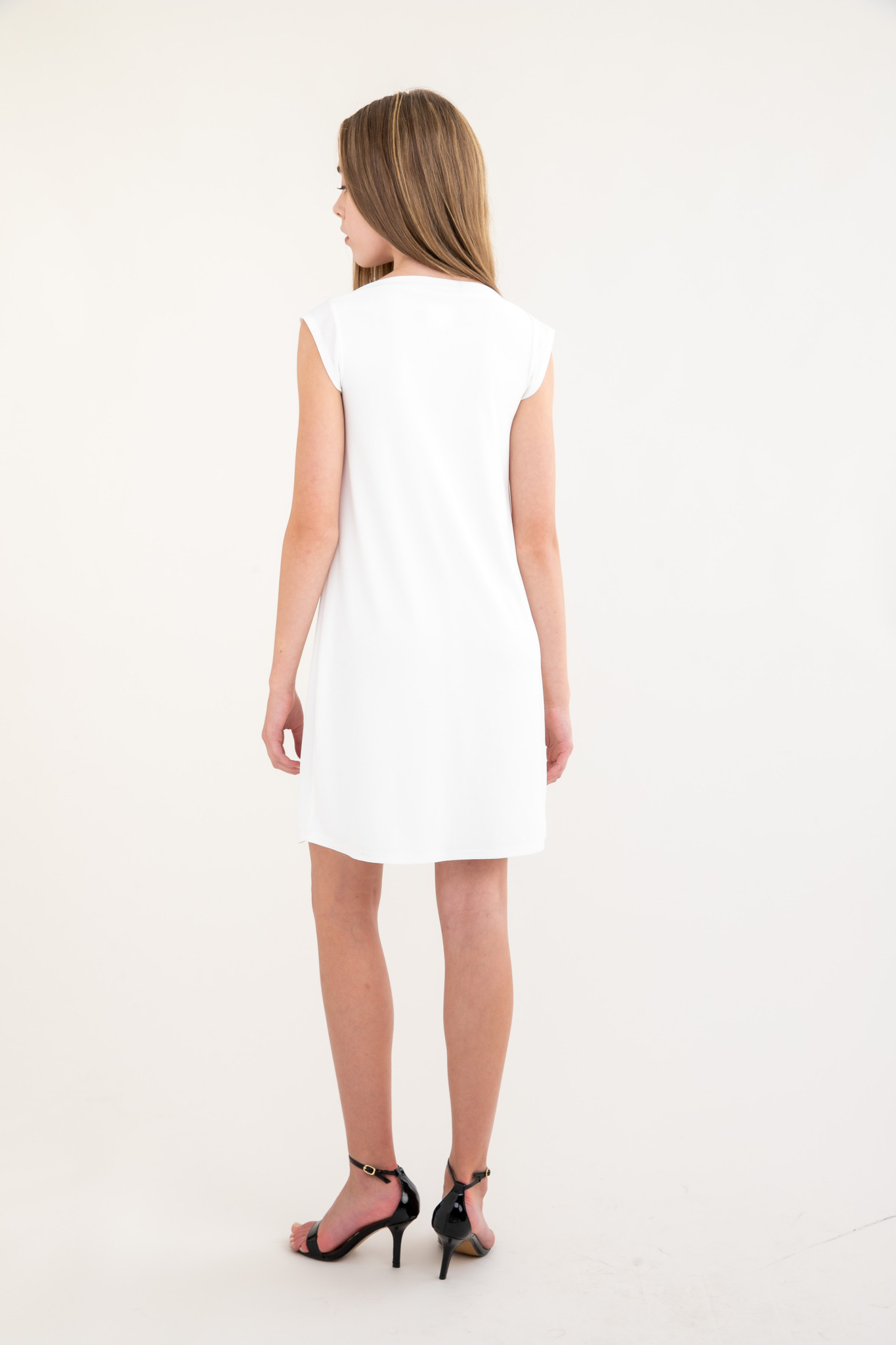 Tween Girls Ivory Boat Neck Dress in Longer Length back.