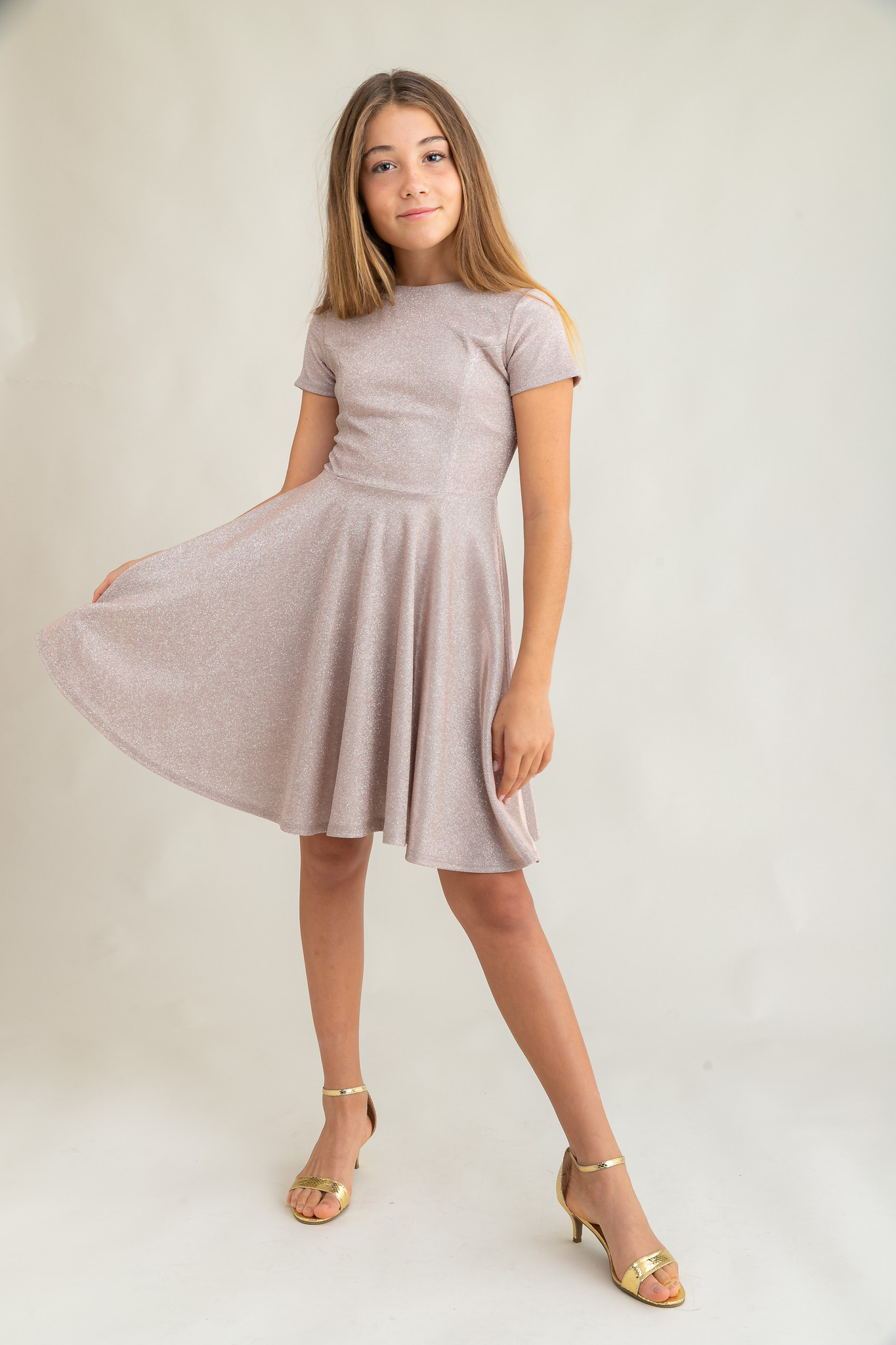 Tween Girls Champagne Glitter Short Sleeve Dress in Longer Length.