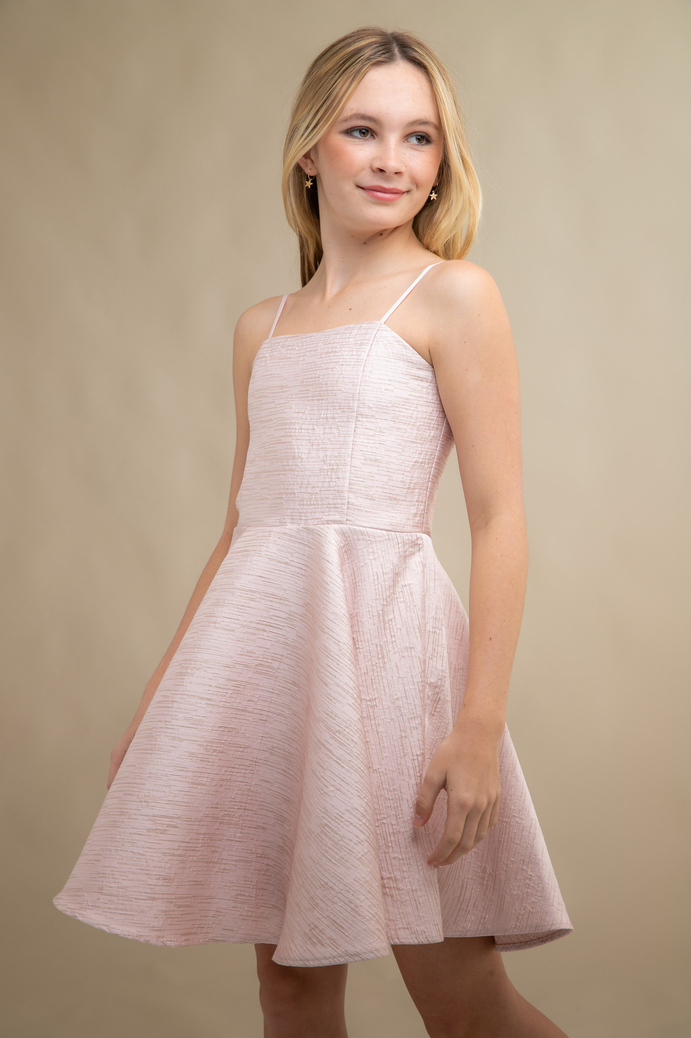 Blush Pink Jacquard Party Dress in Longer Length.
