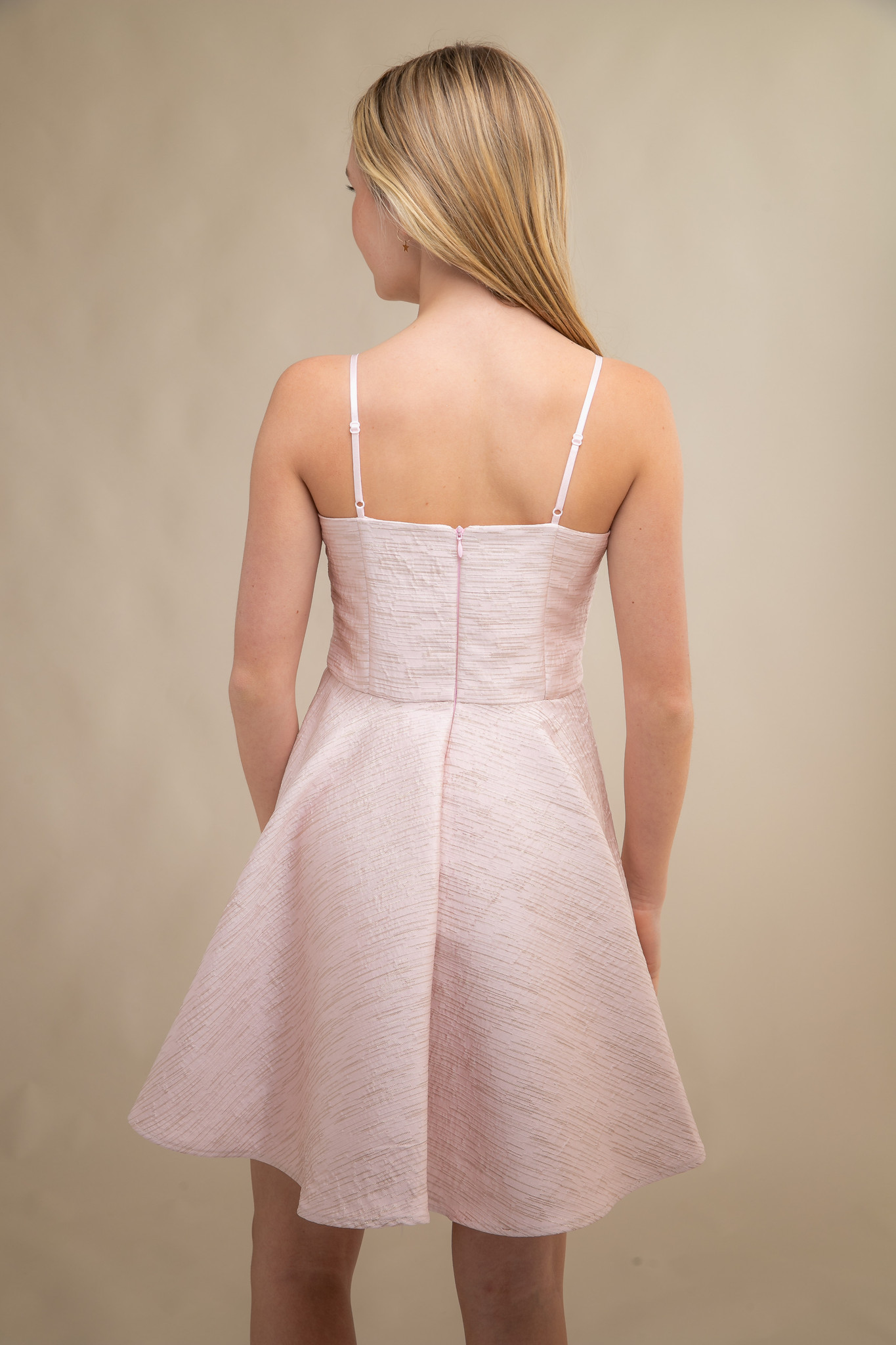Blush Pink Jacquard Party Dress in Longer Length back.