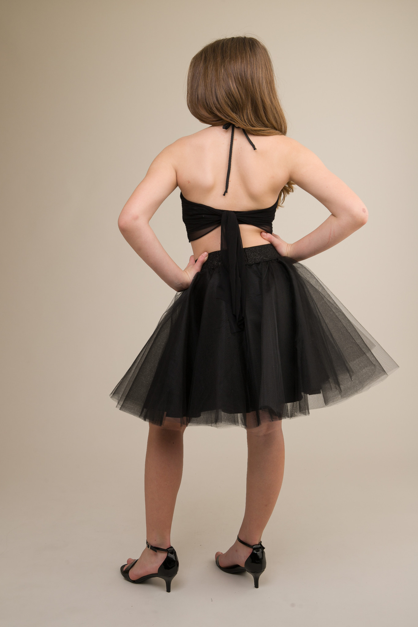 Black Sequin Halter Top with Knot Back.