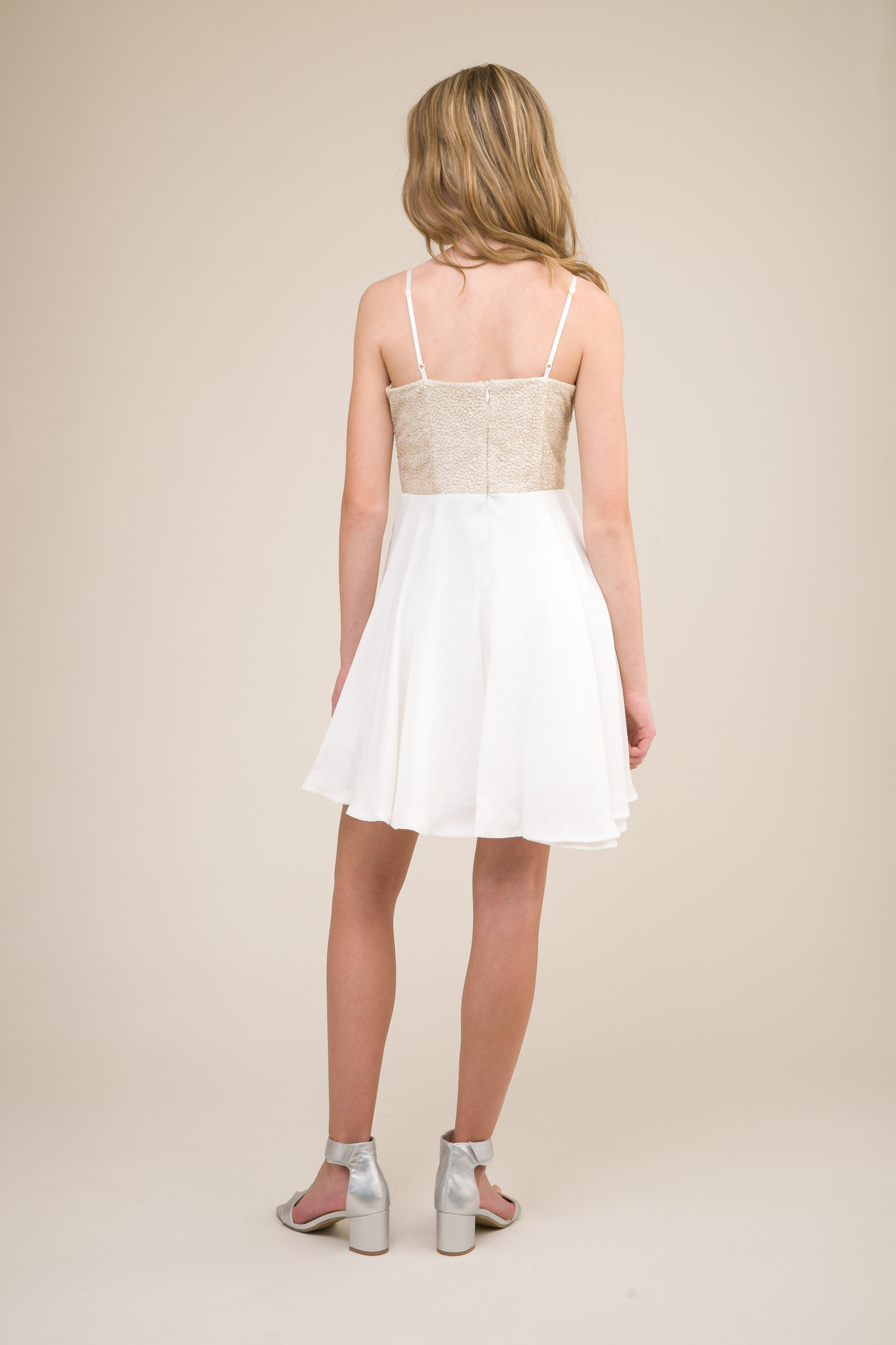 Ivory and Gold Chiffon Dress with Sequins in Longer Length back.