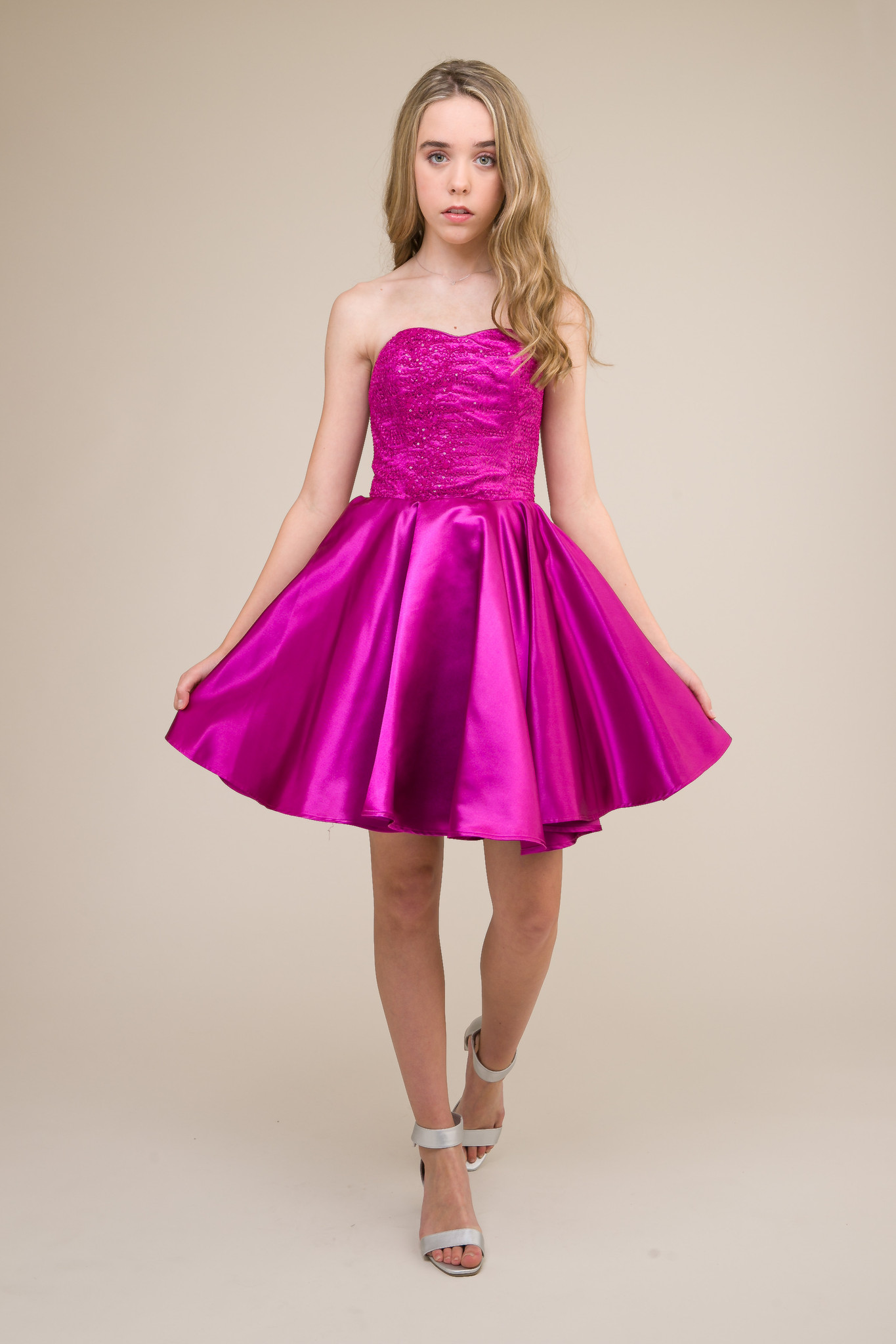 Junior Girls Magenta Sequin and Satin Party Dress in Longer Length.