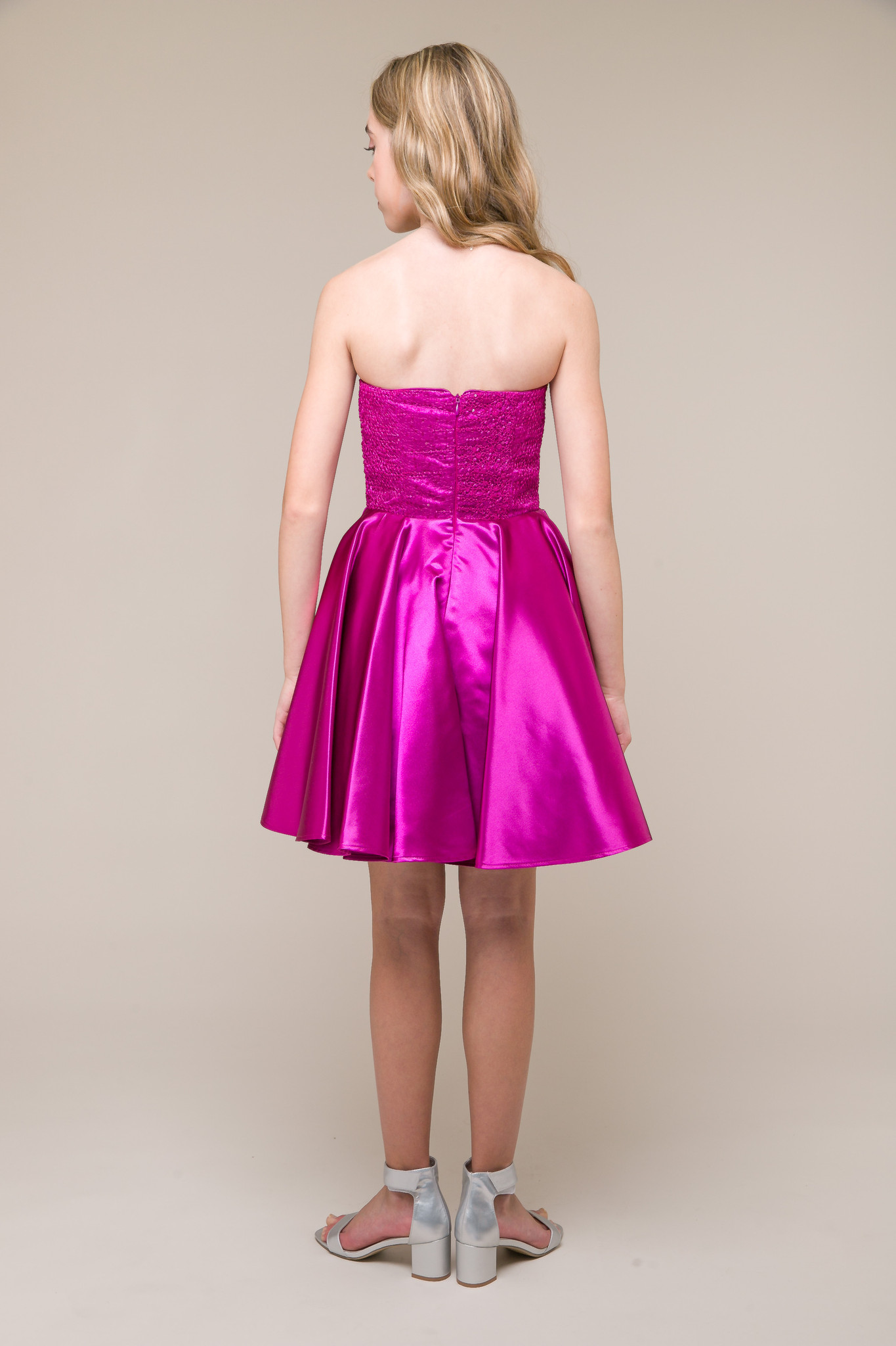 Junior Girls Magenta Sequin and Satin Party Dress in Longer Length back.
