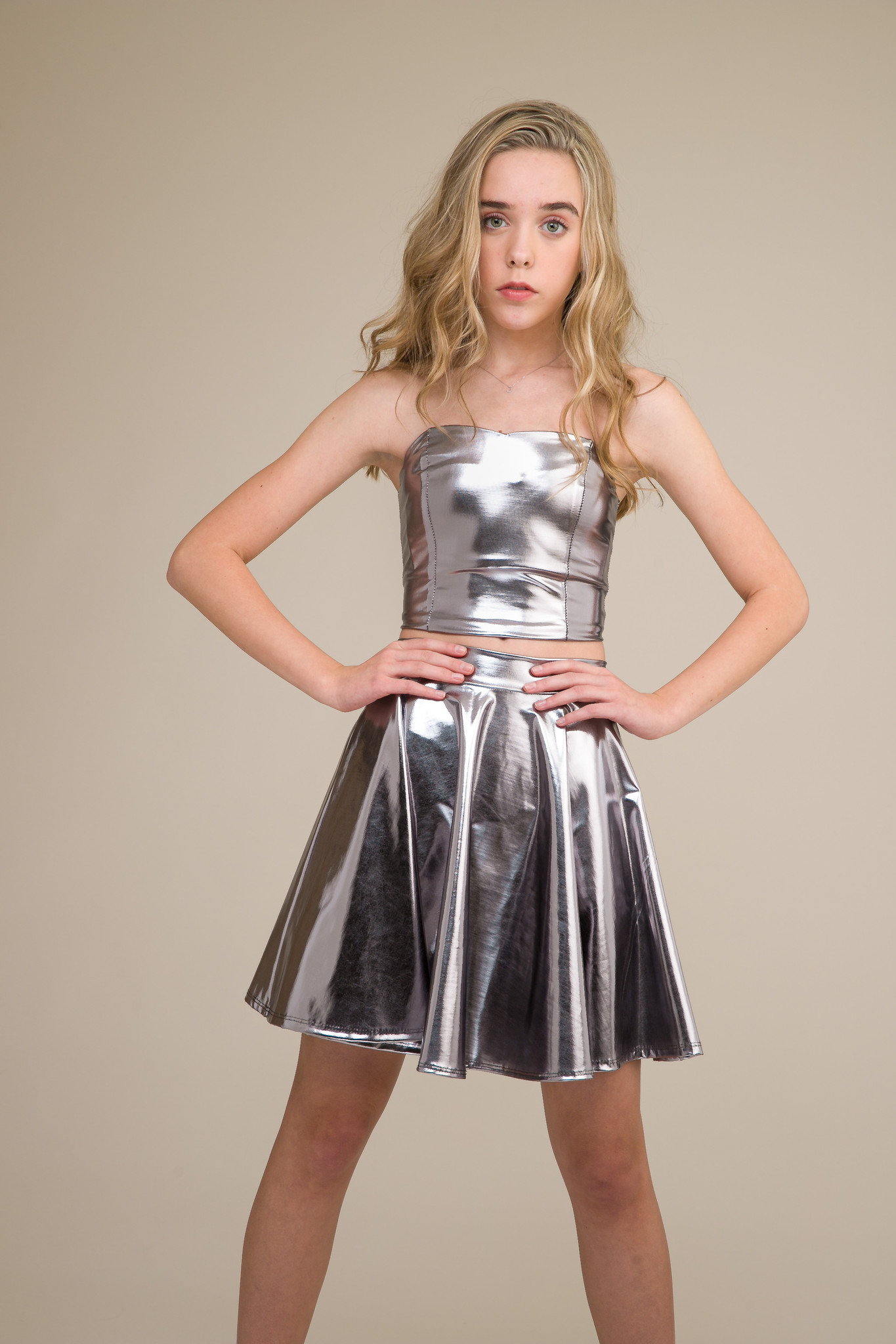 Silver Pleather Bustier with Lace Up Back.