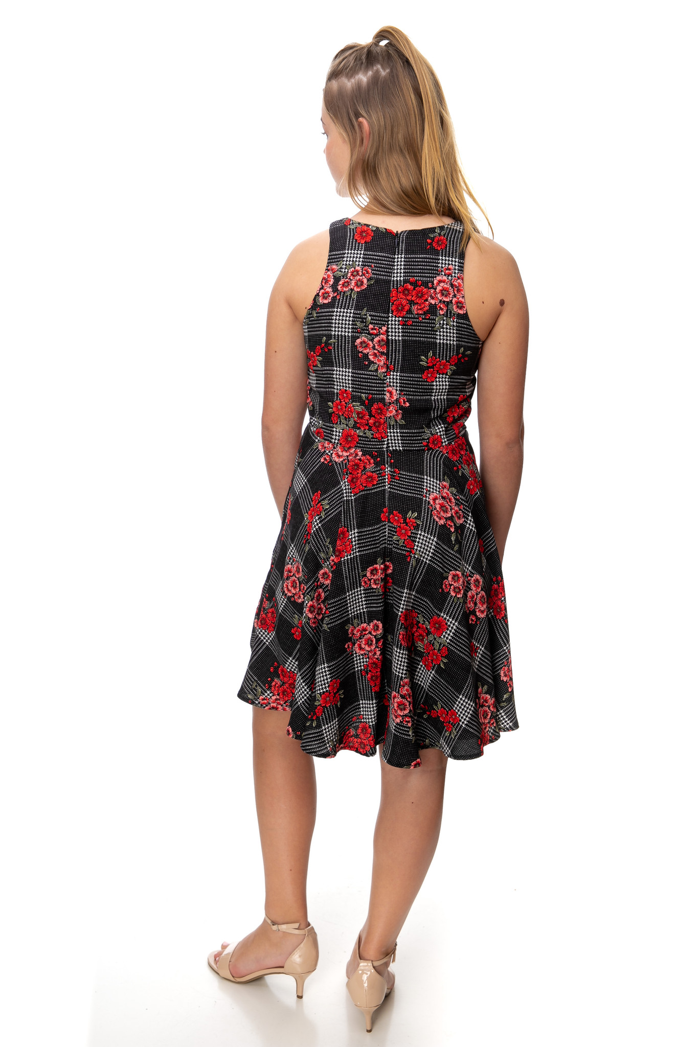 Floral Plaid Racer Back Dress in Longer Length back.