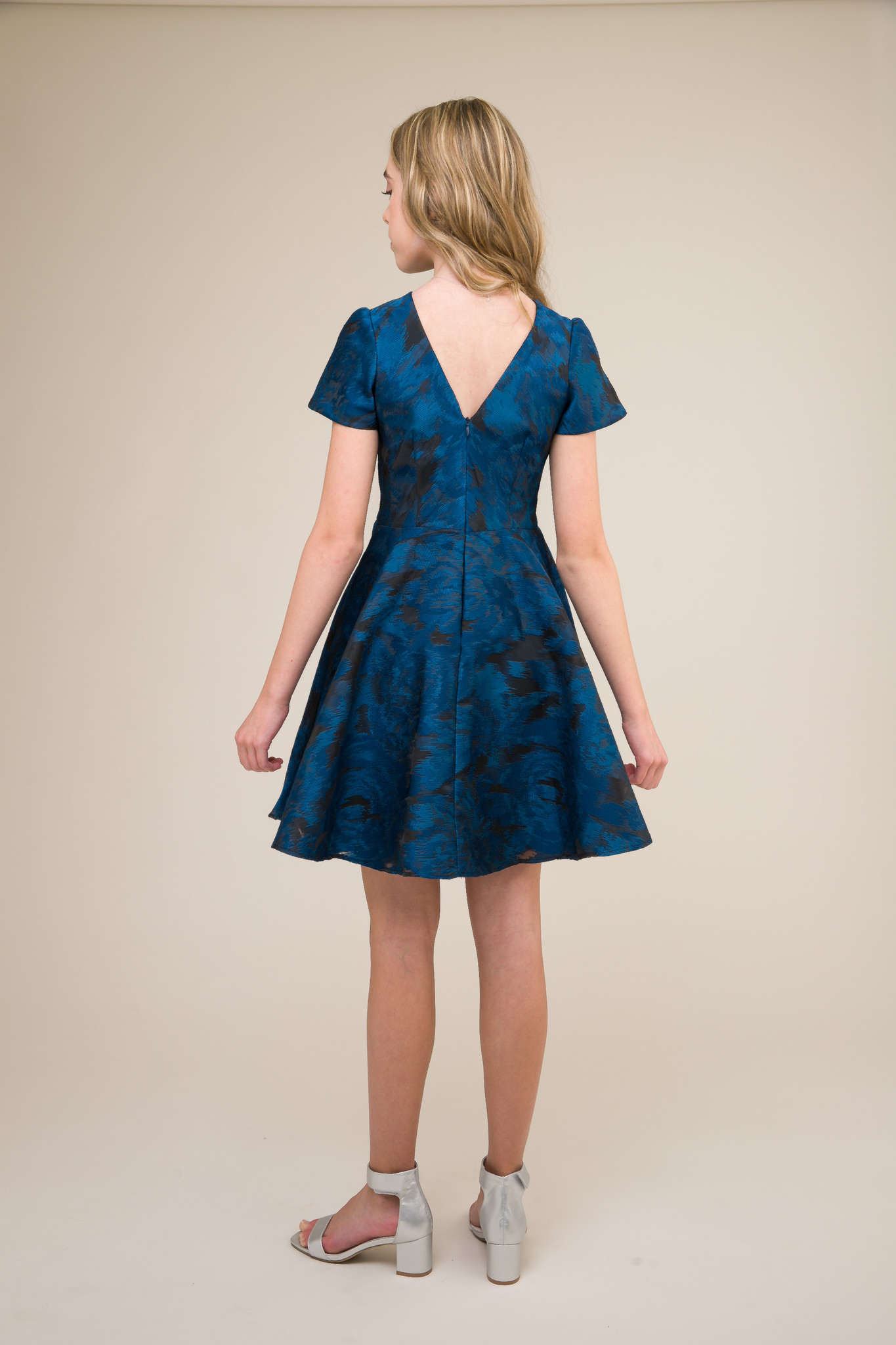 Cobalt and Black Short Sleeve Dress in Longer Length back.