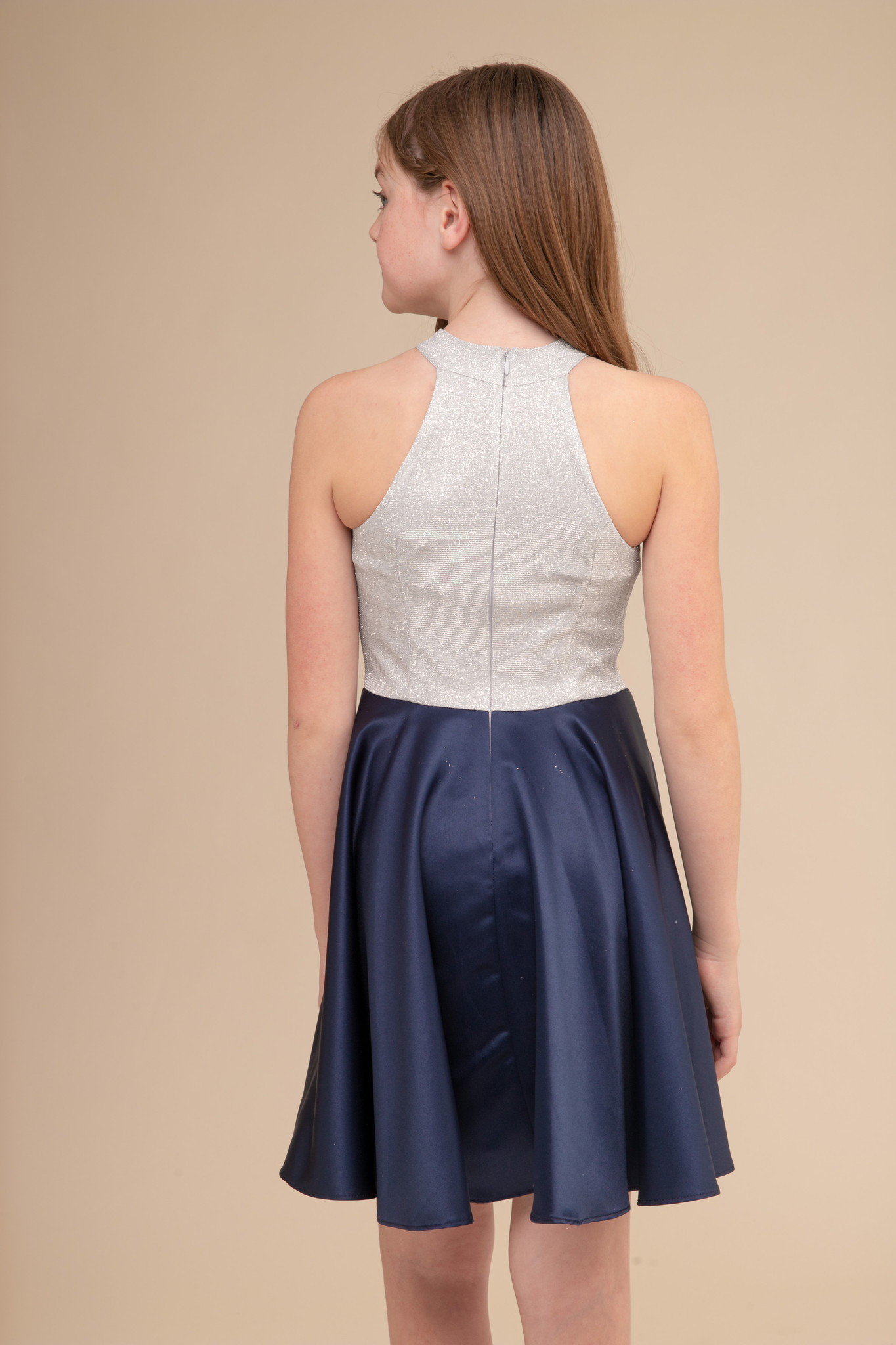 High Neck Silver Glitter and Navy Satin Party Dress in Longer Length.