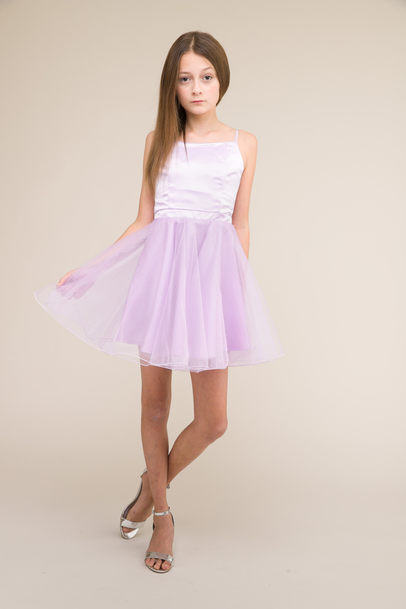 Short Satin and Tulle Dress in Lilac.