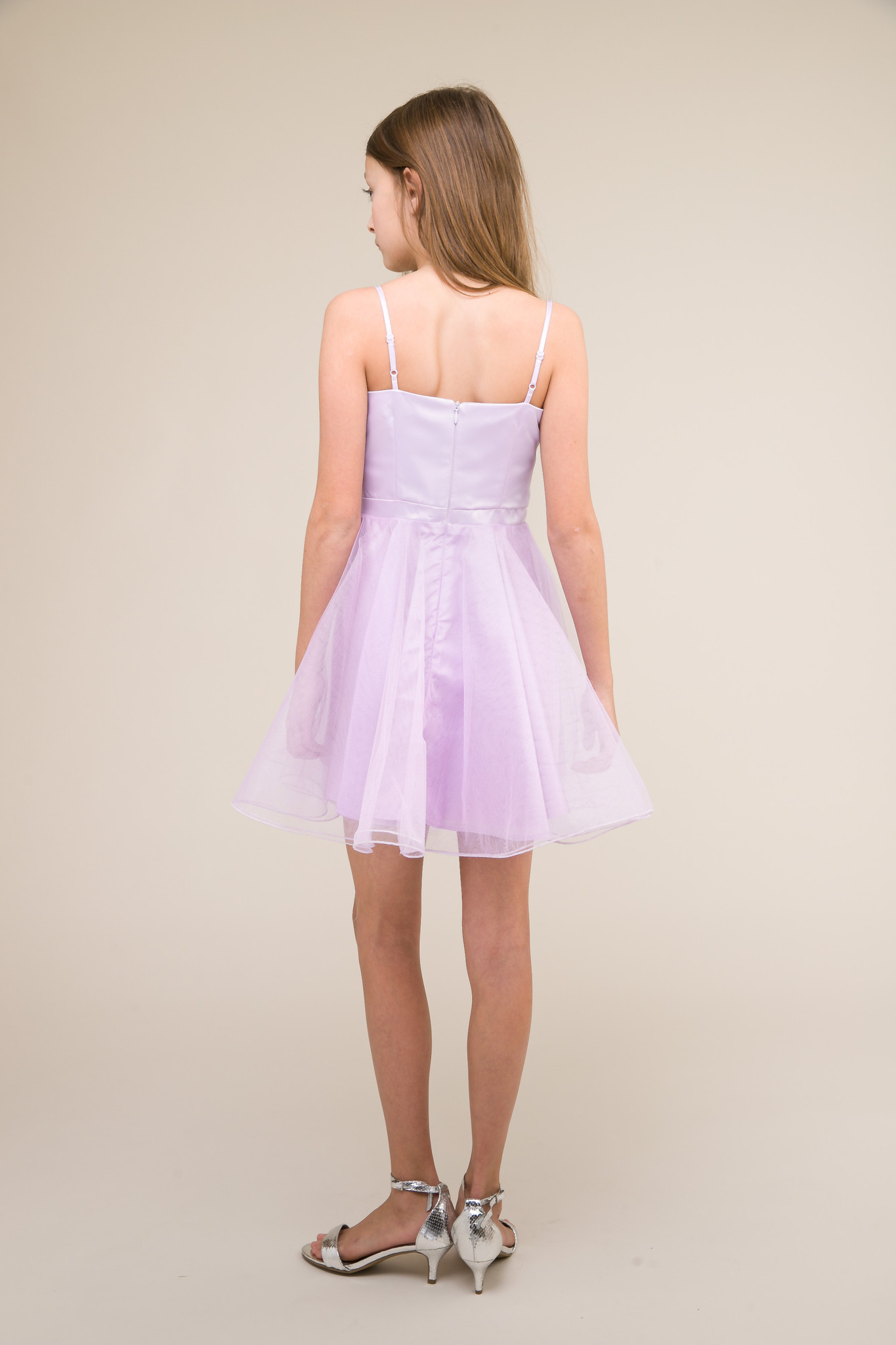 Short Satin and Tulle Dress in Lilac back.