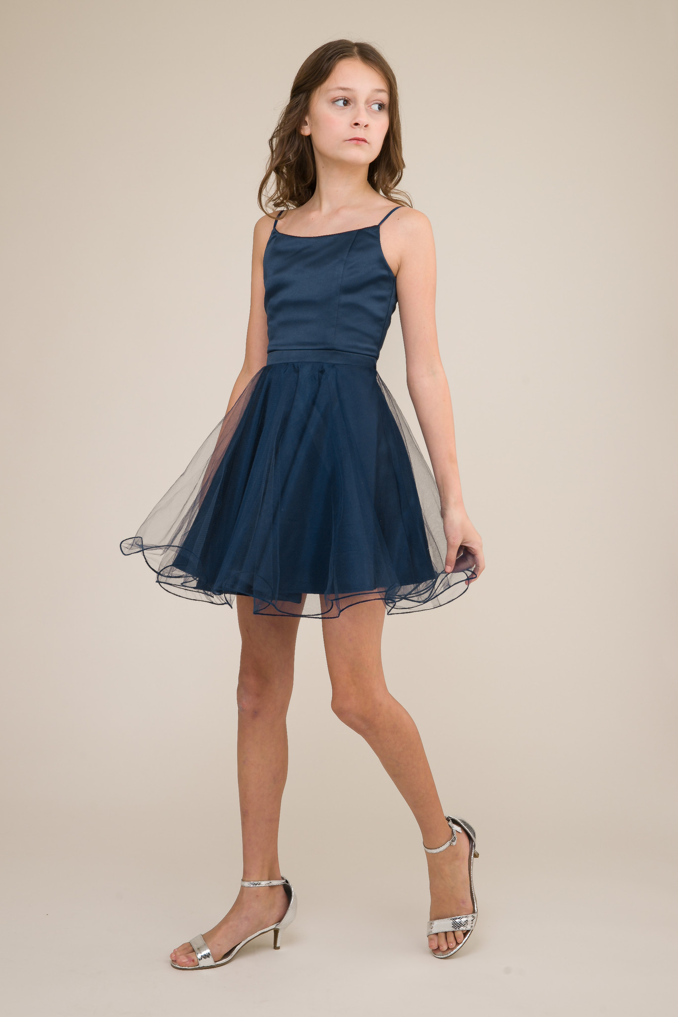 Short Satin and Tulle Dress in Navy.