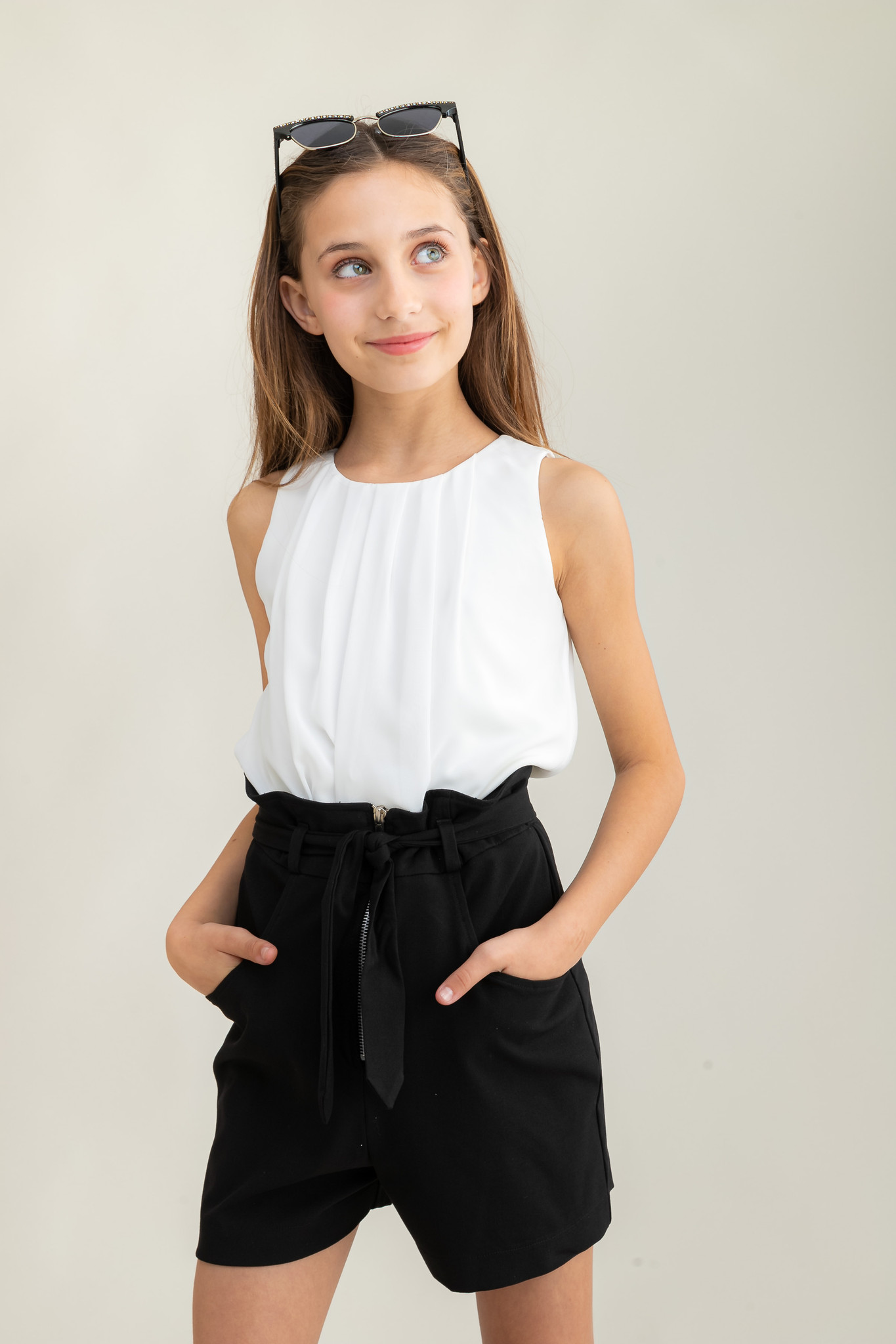 Chiffon A Line Top in White.