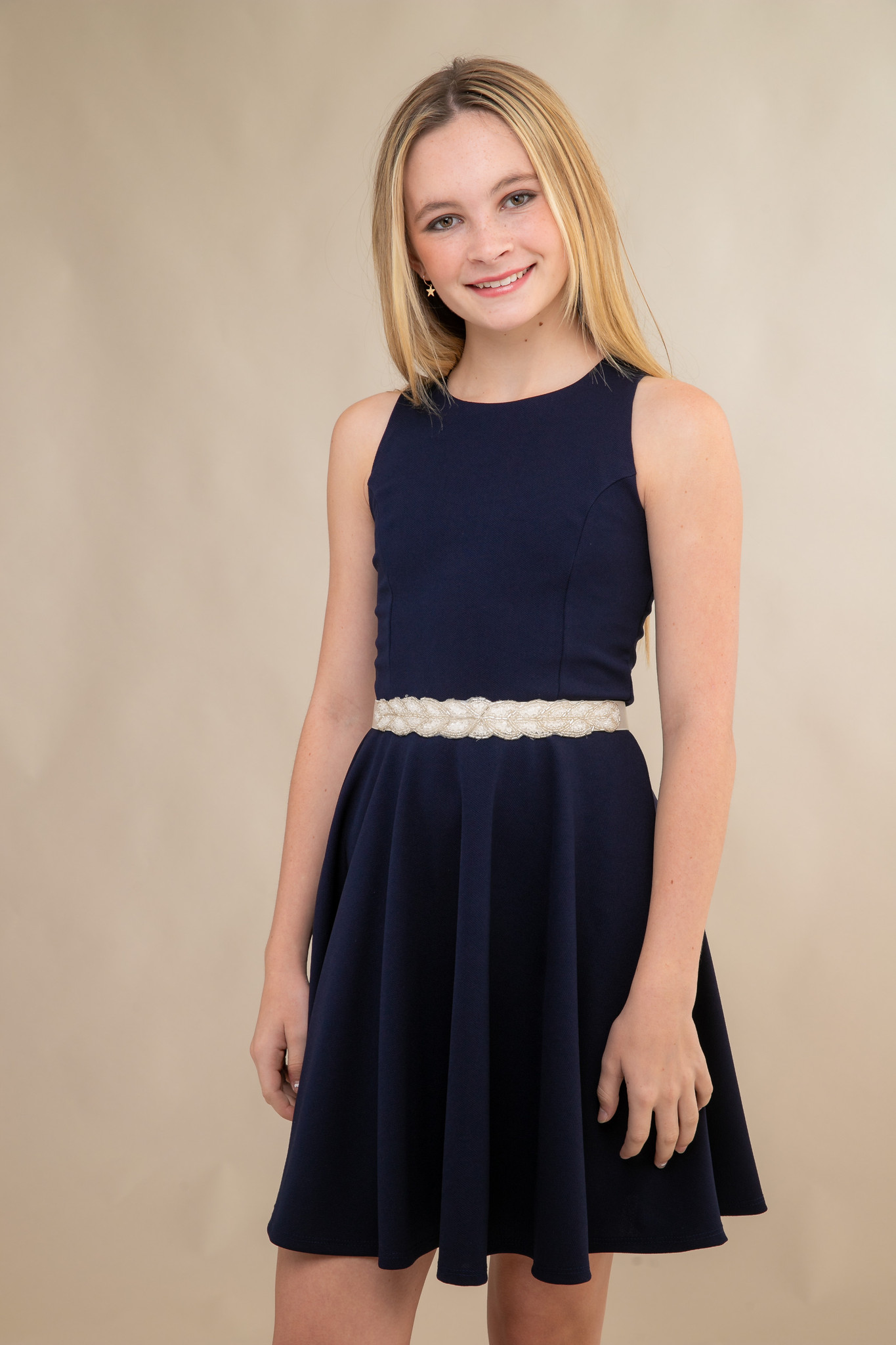 Navy Texture Racer Back Dress in Longer Length with belt.
