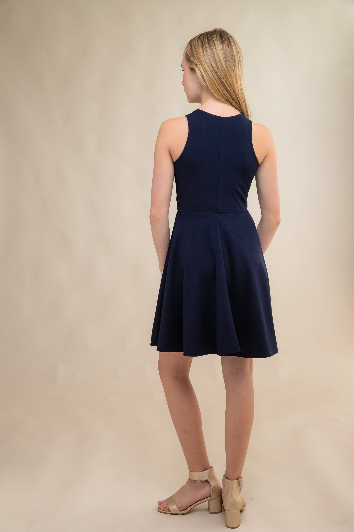 Navy Texture Racer Back Dress in Longer Length back.
