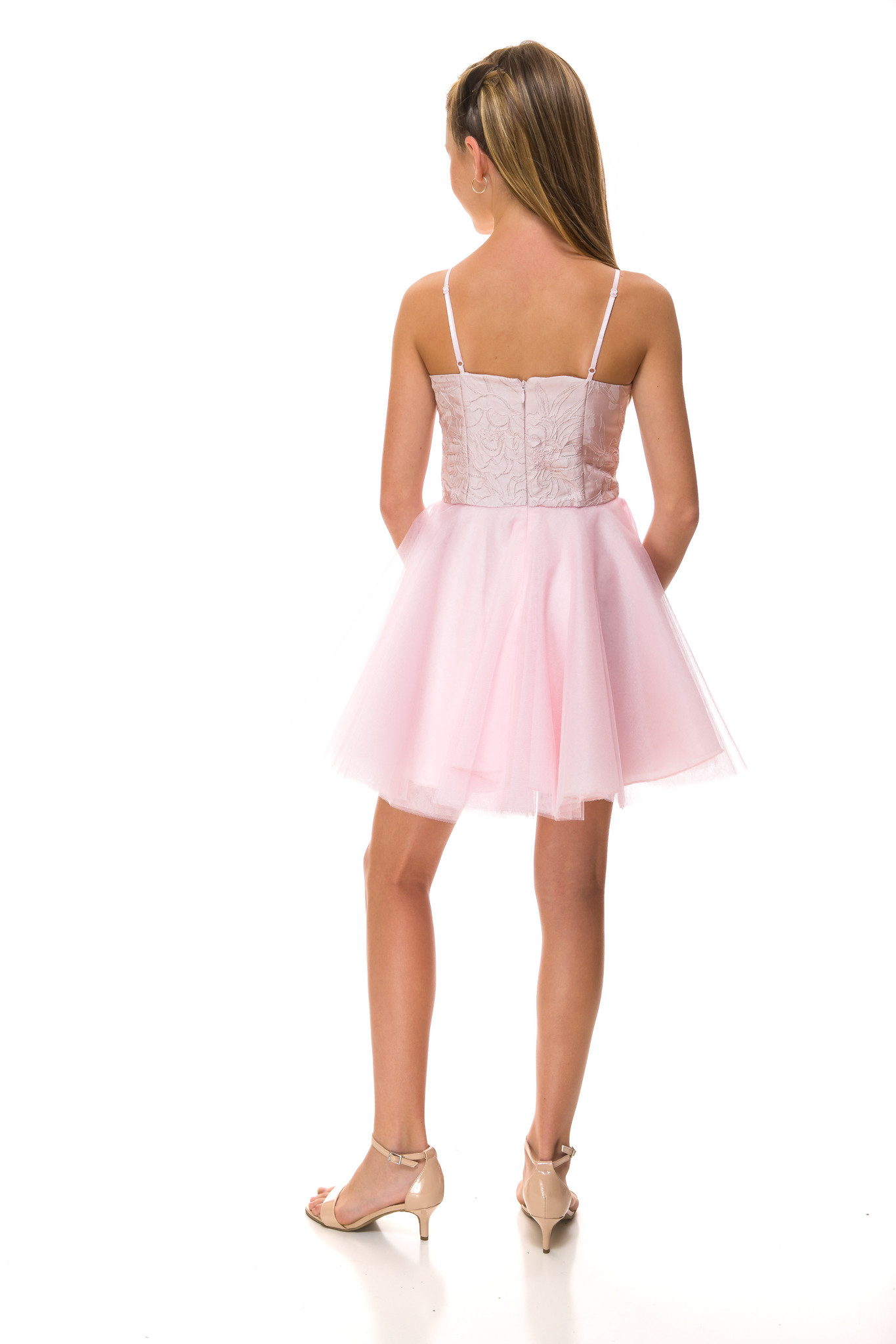 Blush Pink Jacquard Party Dress with Tulle back.