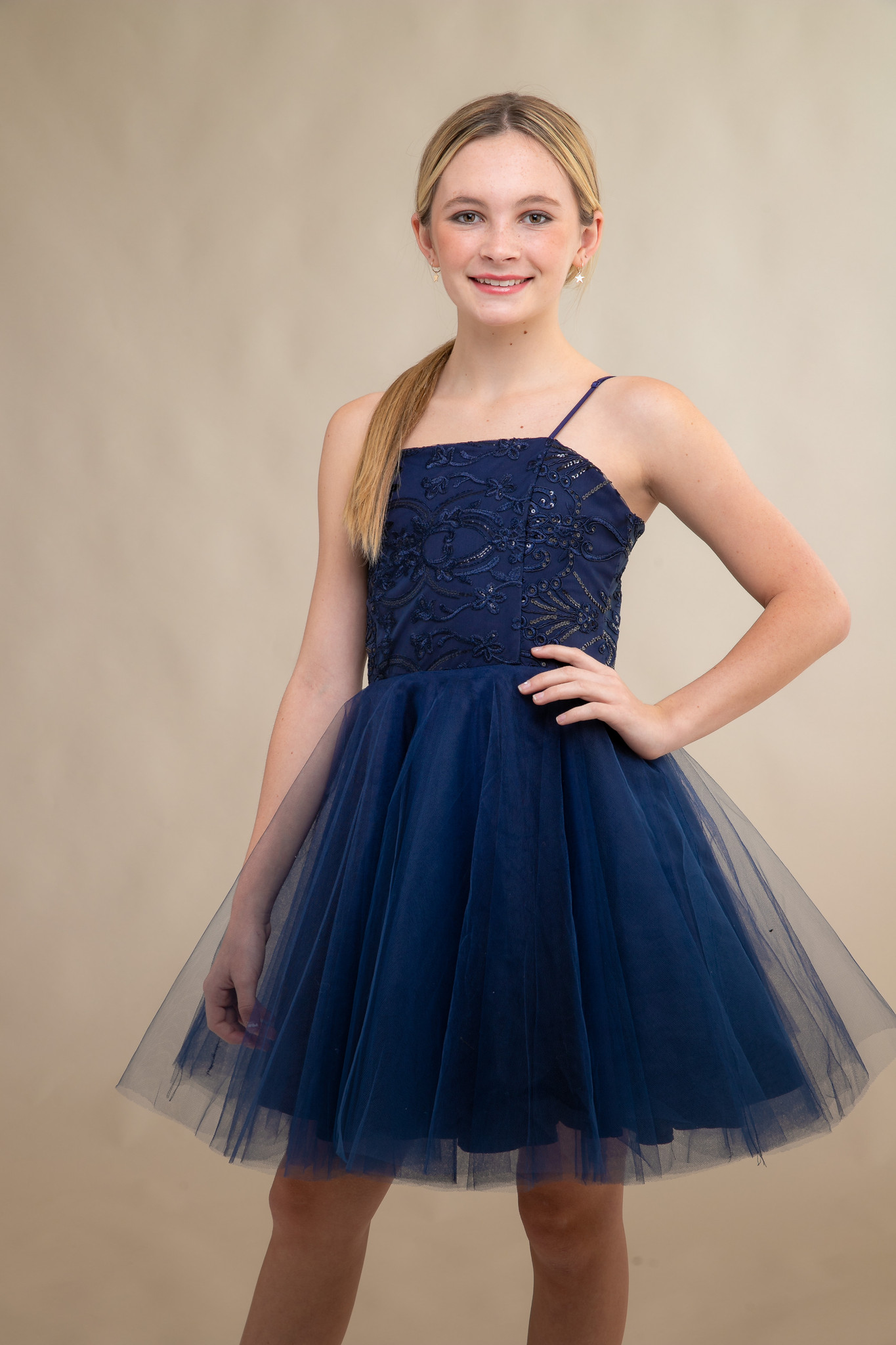 Navy Sequin Tulle Party Dress in Longer Length.