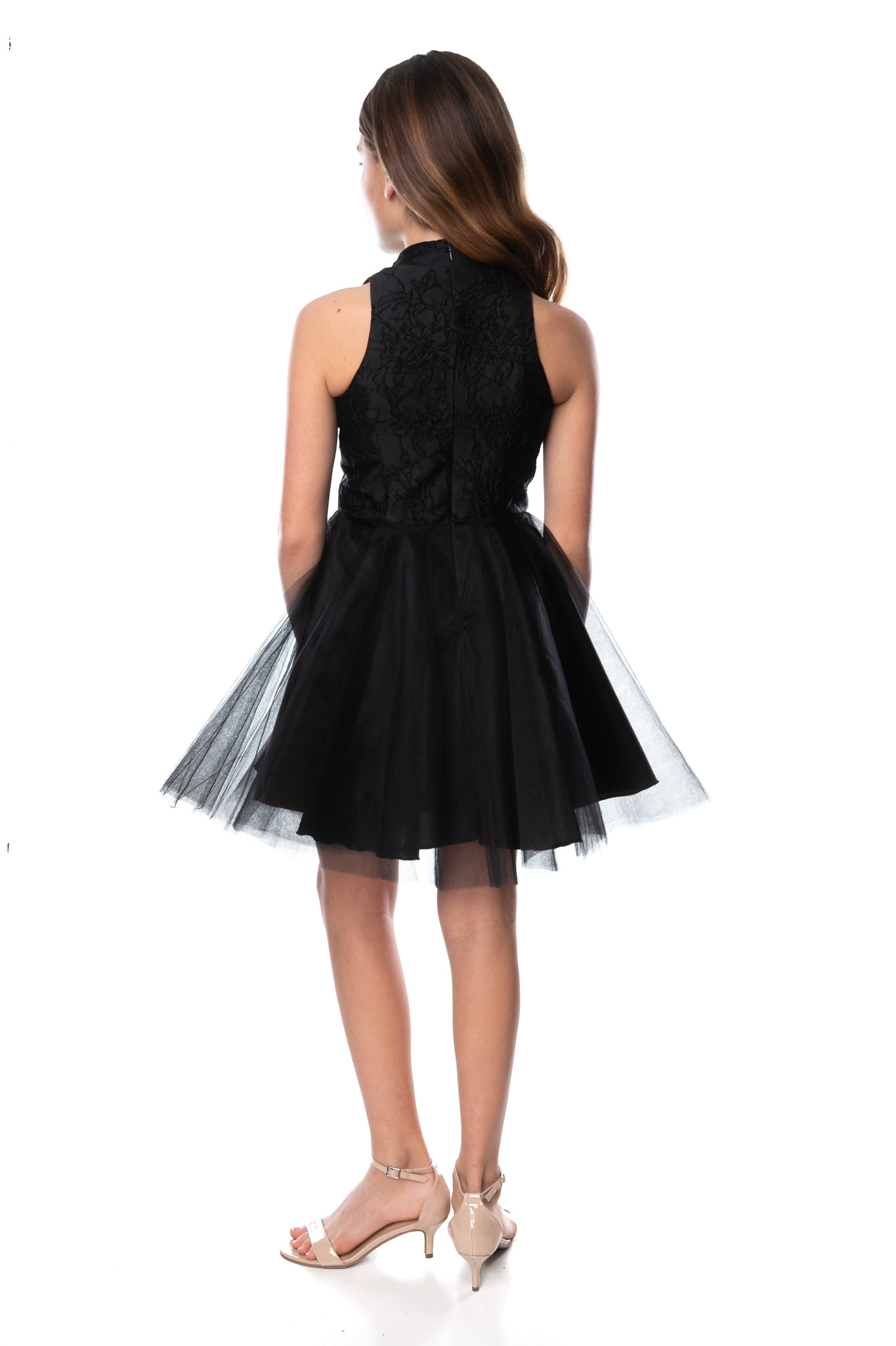 Black Floral Choker Party Dress in Longer Length back.