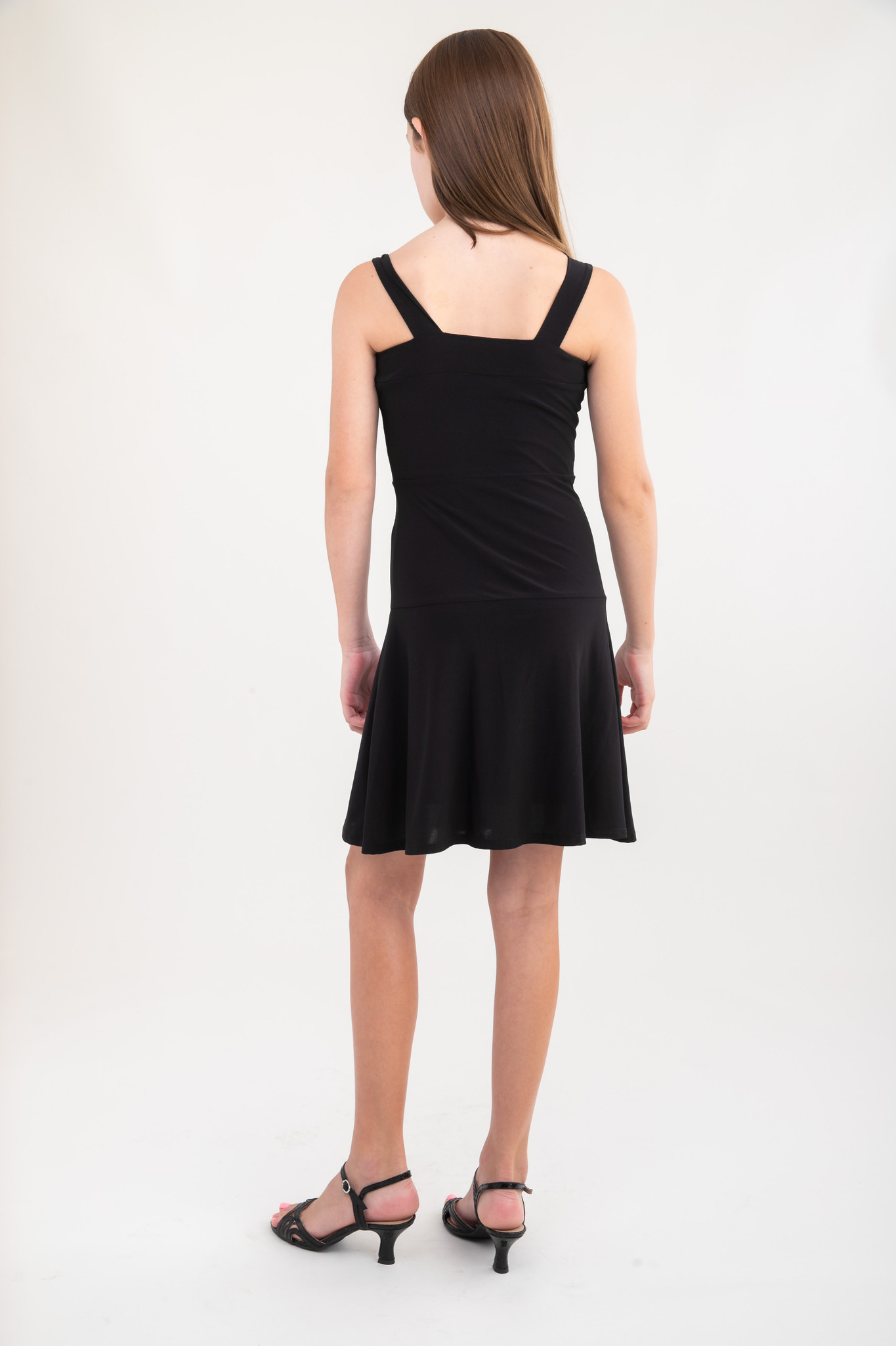 Black Skater Dress in Longer Length back.