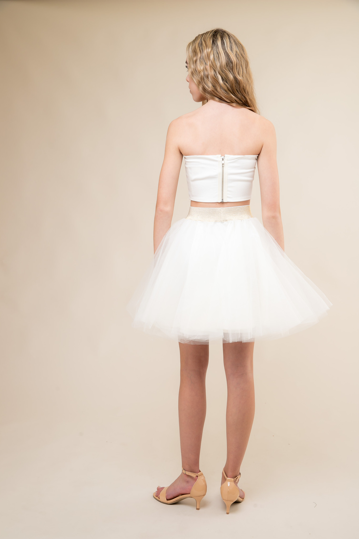 Ivory Strapless Top and Ivory Tulle Skirt Set back.