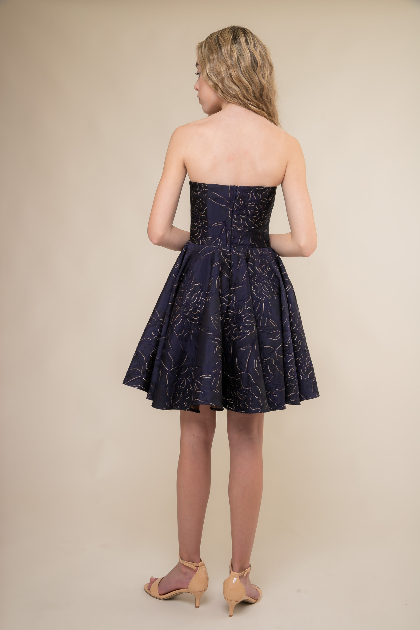 Navy and Gold Floral Jacquard Party Dress back.