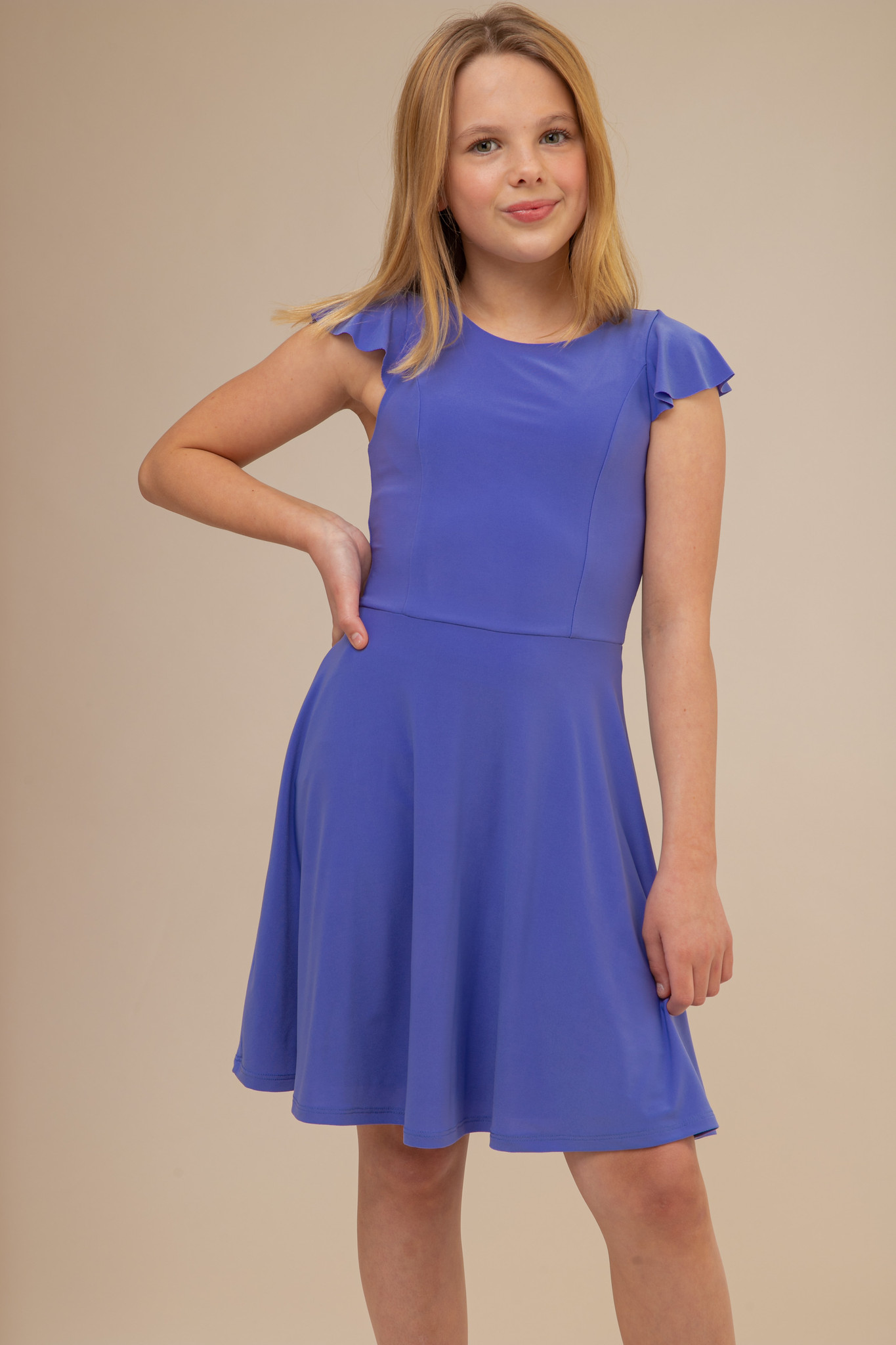 Periwinkle Flutter Sleeve Dress in Longer Length.