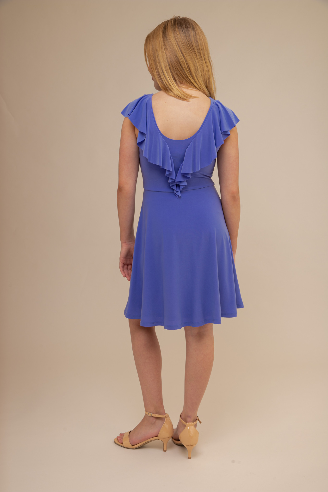 Periwinkle Flutter Sleeve Dress in Longer Length back.