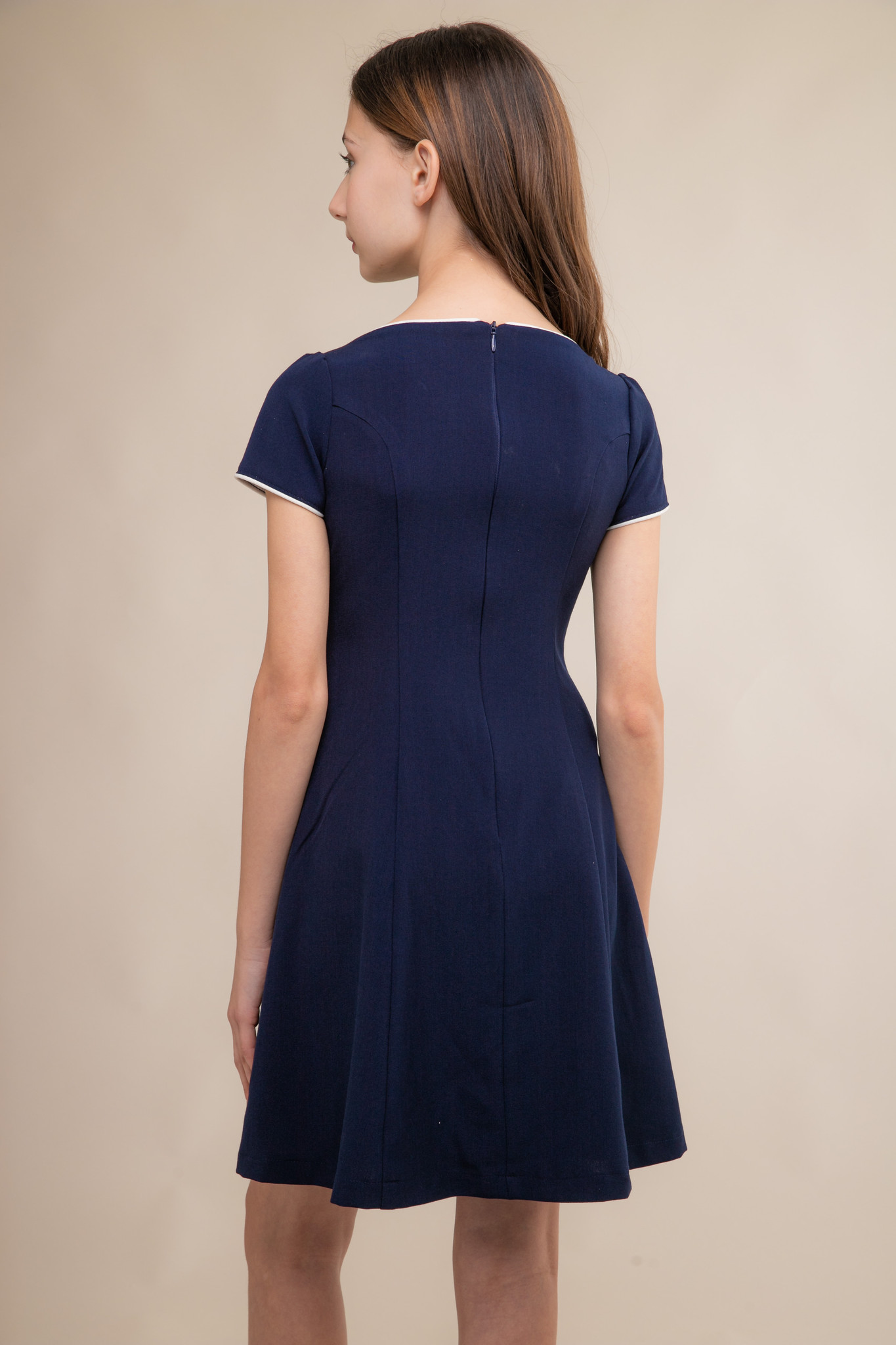 Navy and Ivory Short Sleeve Flare Dress in Longer Length back.