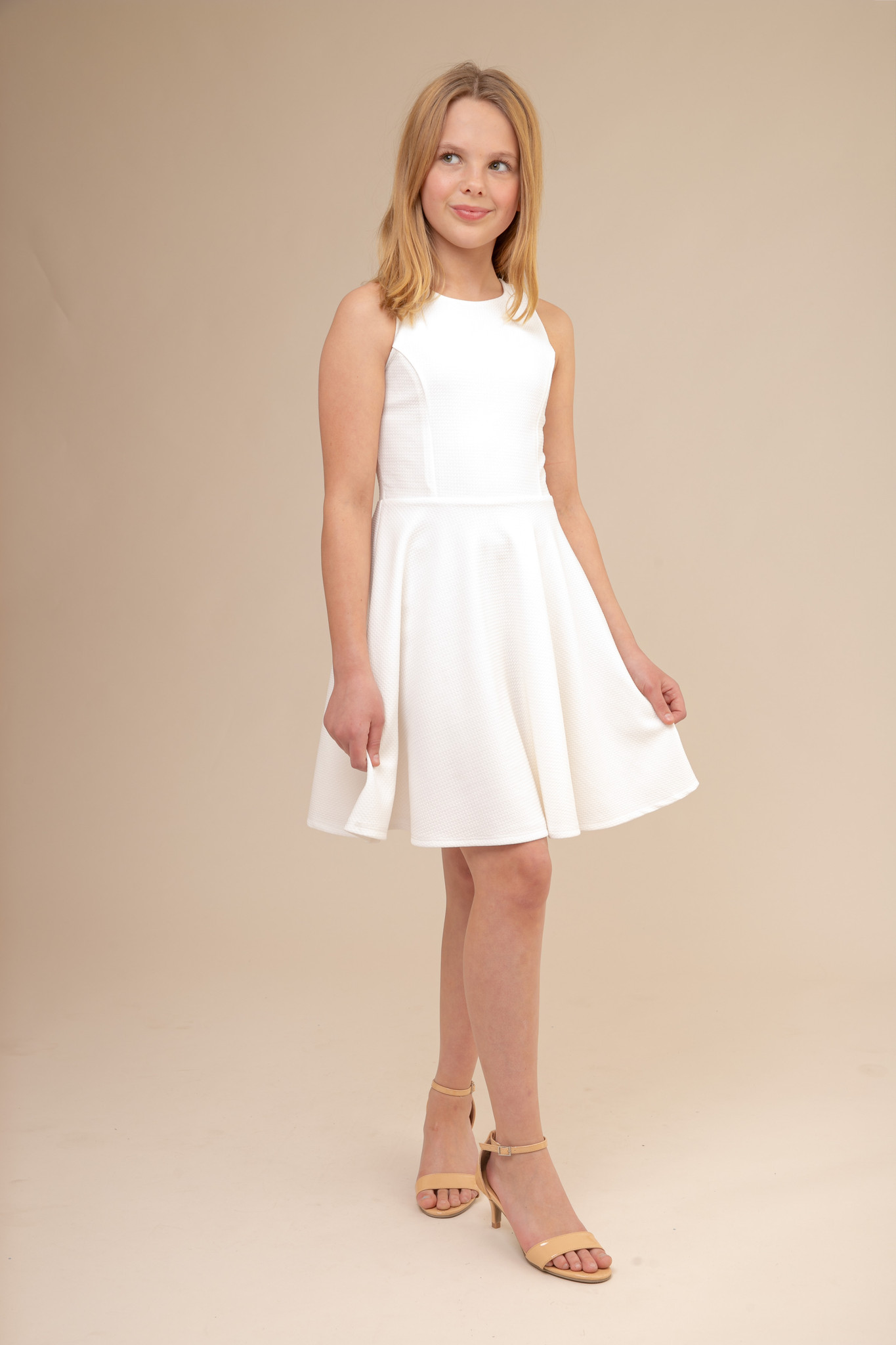Ivory Textured Racer Back Dress in Longer Length.