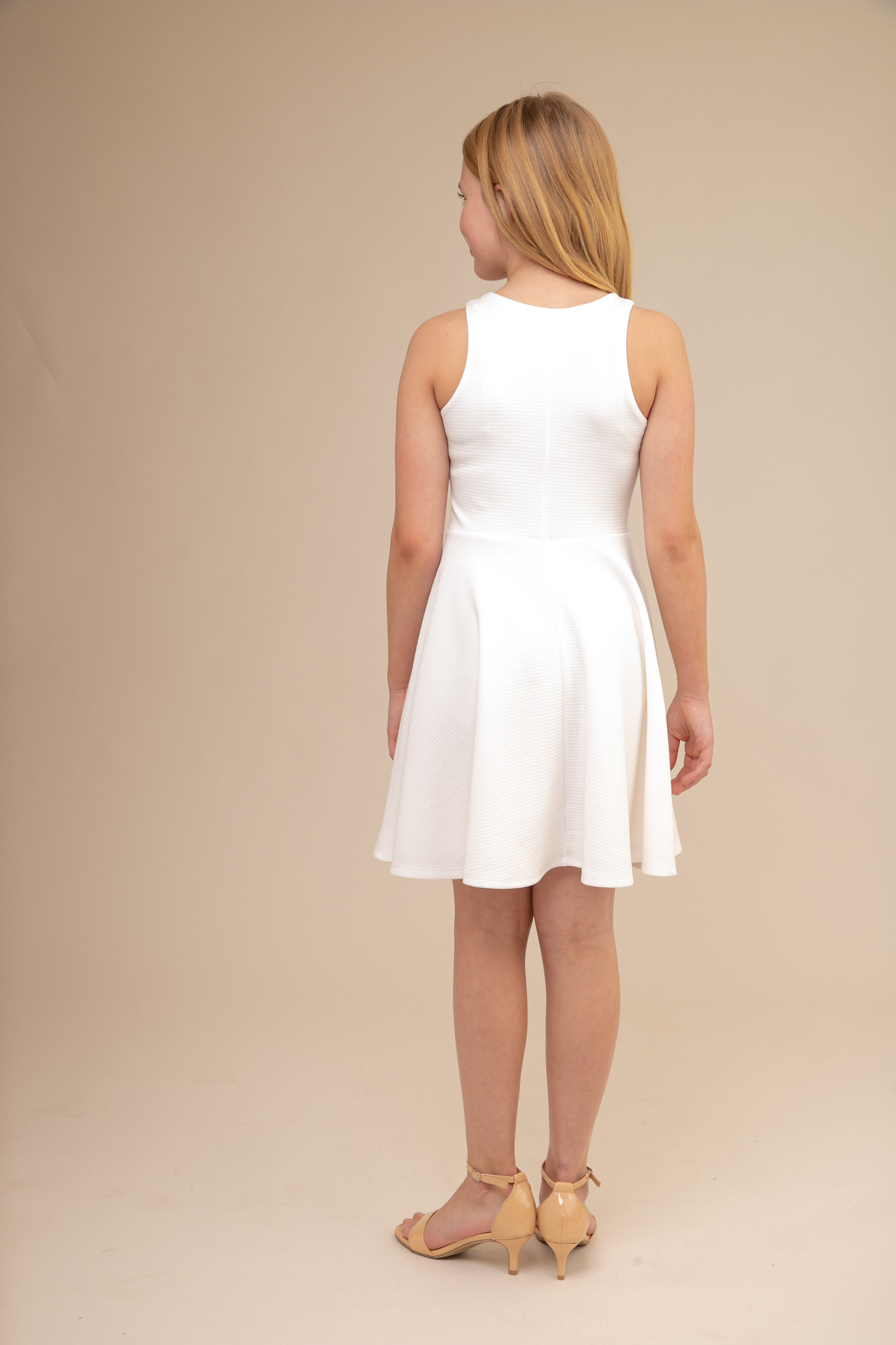 Ivory Textured Racer Back Dress in Longer Length back.