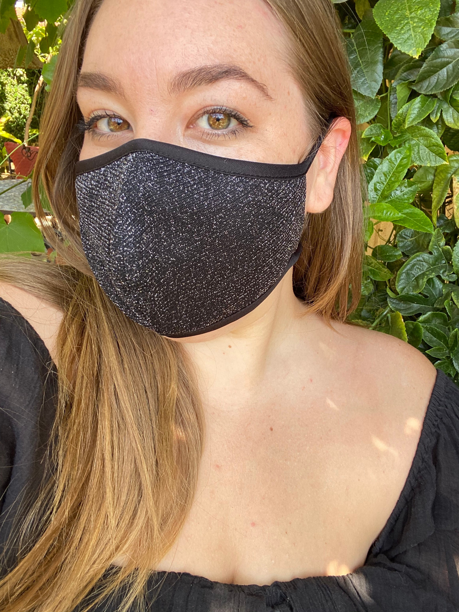 Glitter Mesh Face Mask in Black and Ivory.