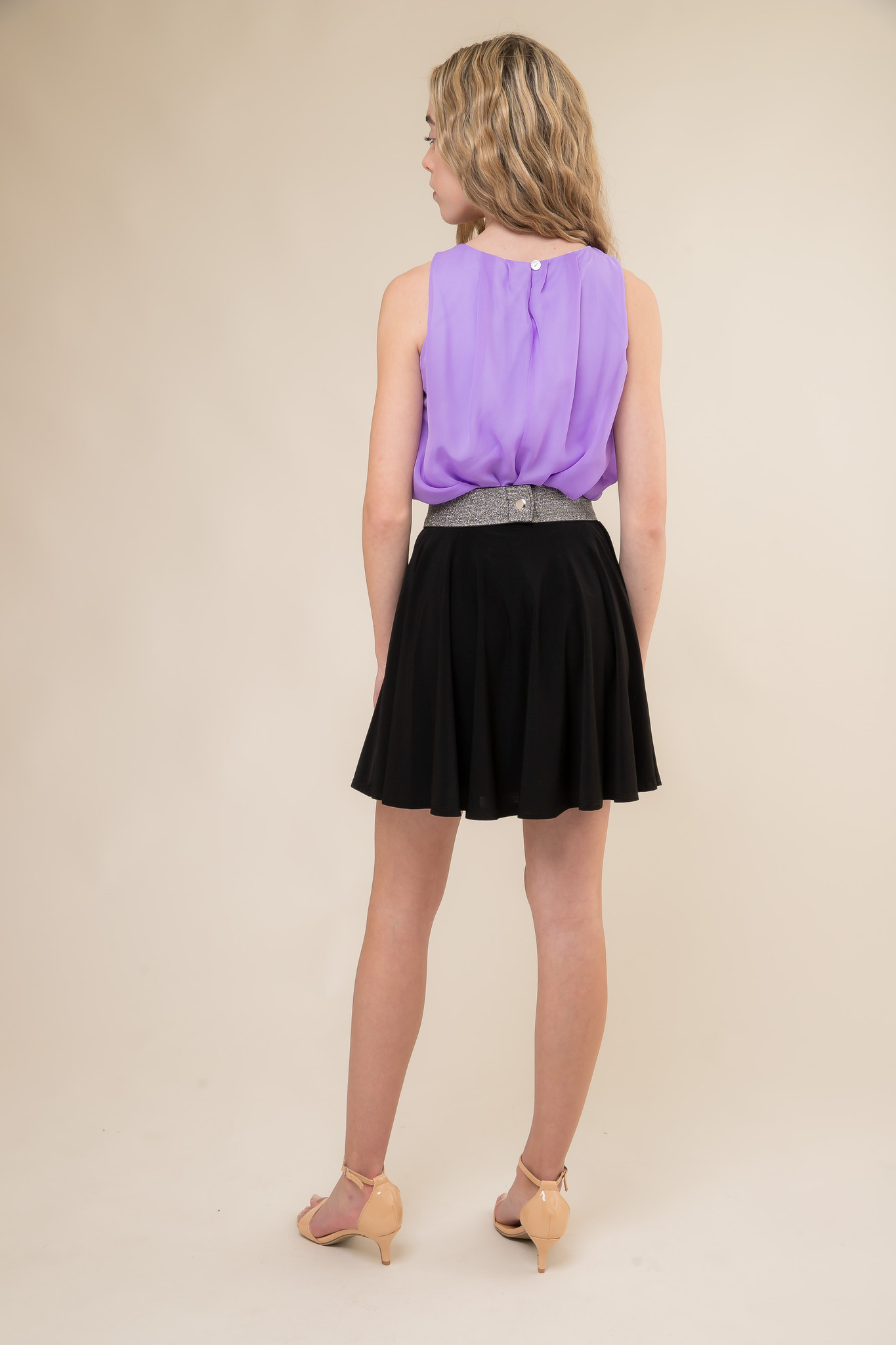 Lilac Top and Black Skater Skirt with Belt back.