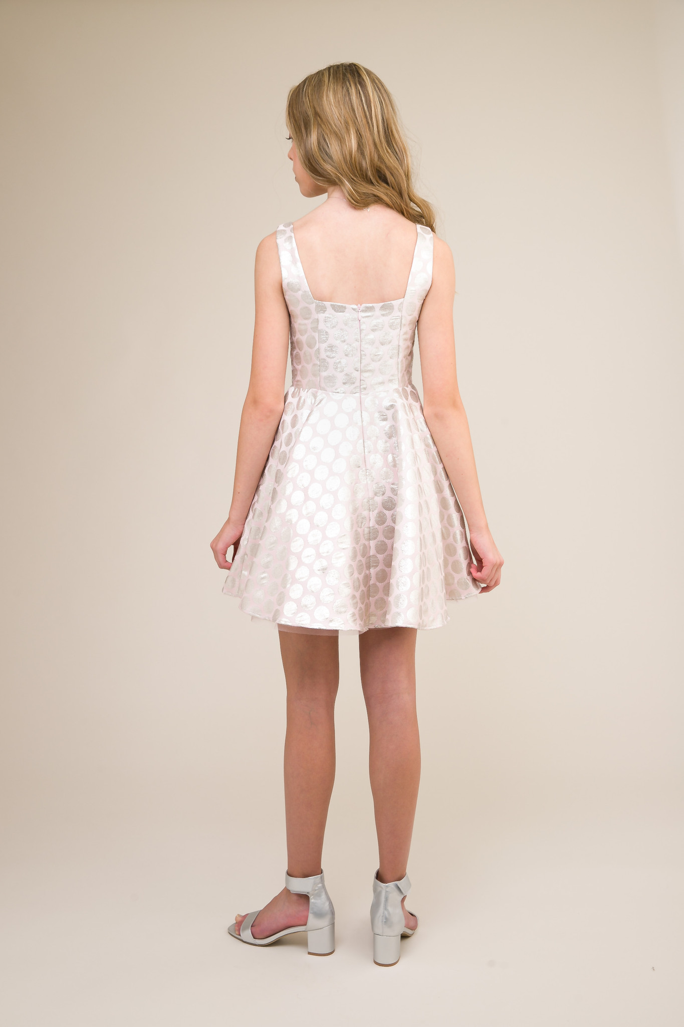 Square Neck Polka Dot Party Dress with Matching Mask.