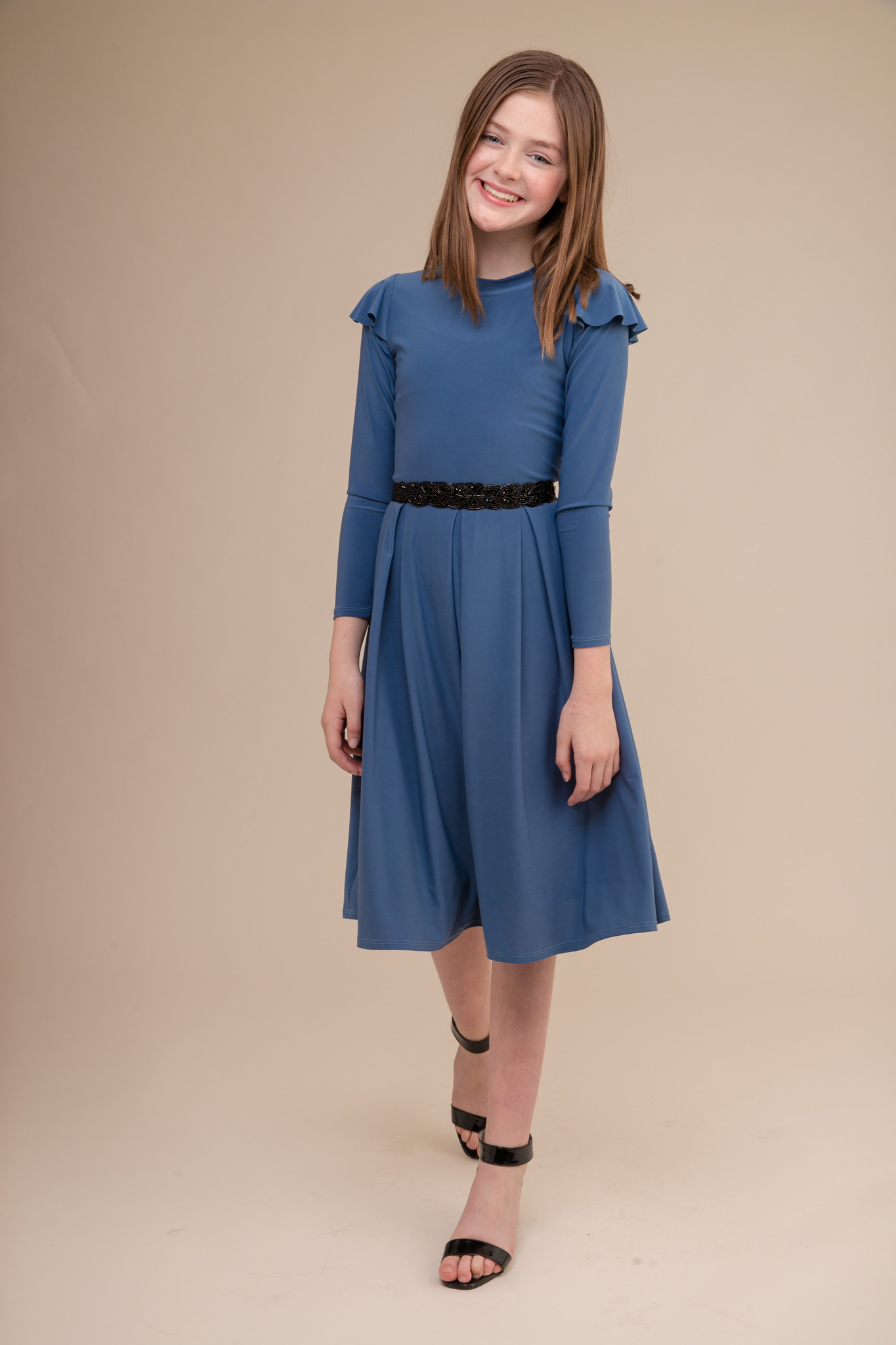 Storm Blue Long Sleeve Dress with Ruffle in Longer Length with Belt.
